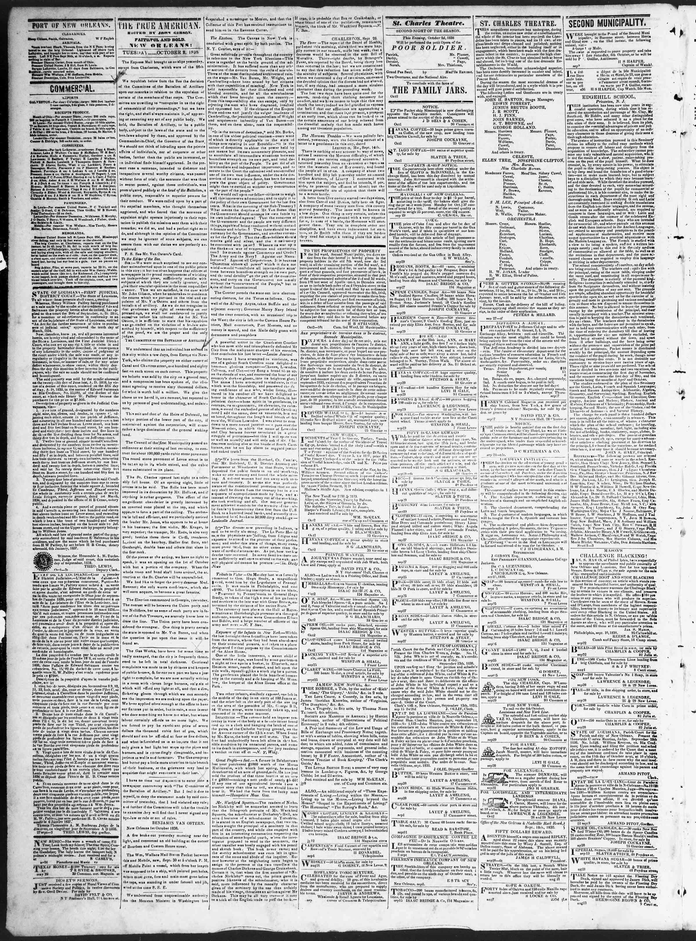 October 2, 1838 Tarihli True American Gazetesi Sayfa 2