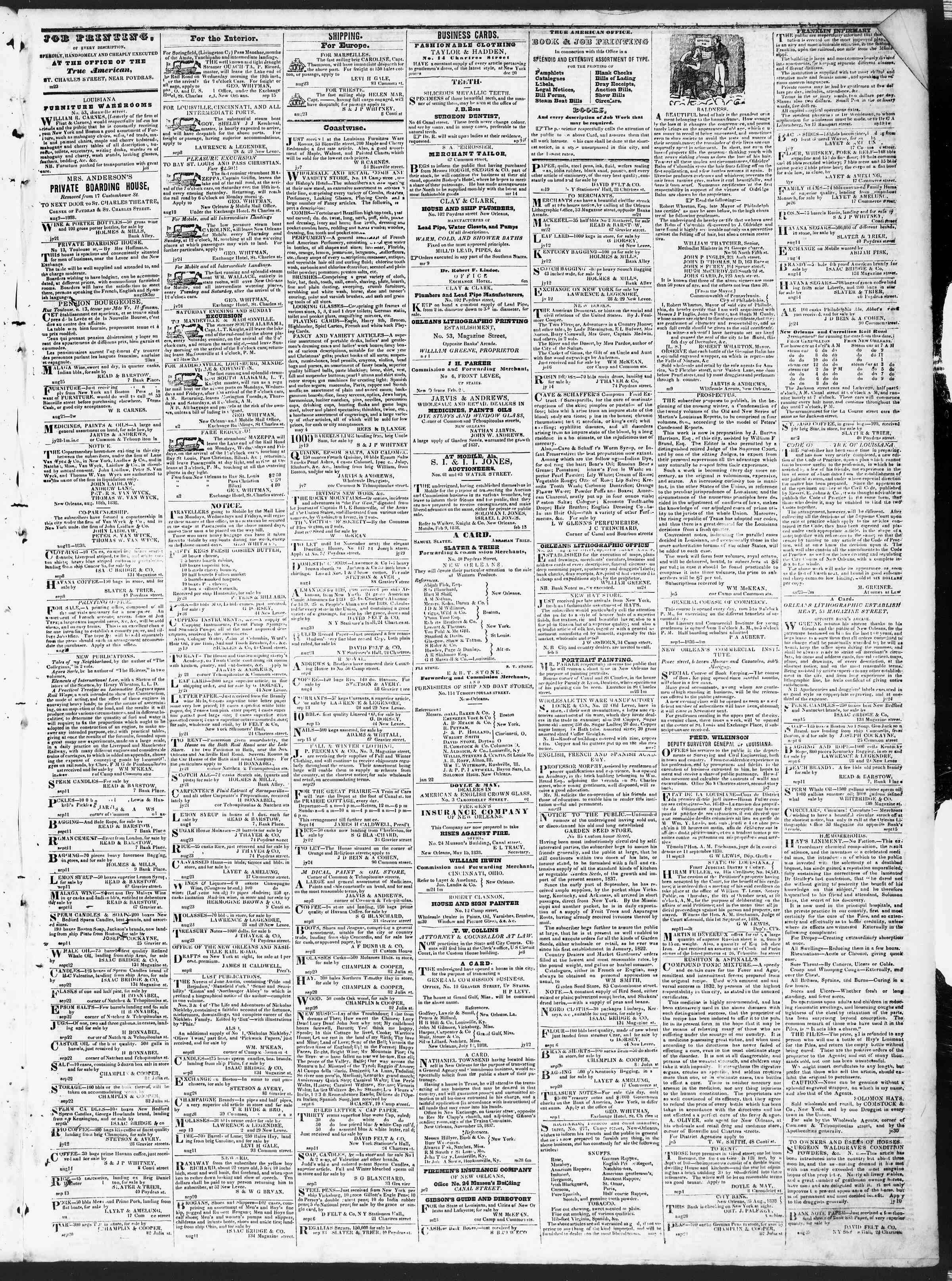 Newspaper of True American dated October 2, 1838 Page 3