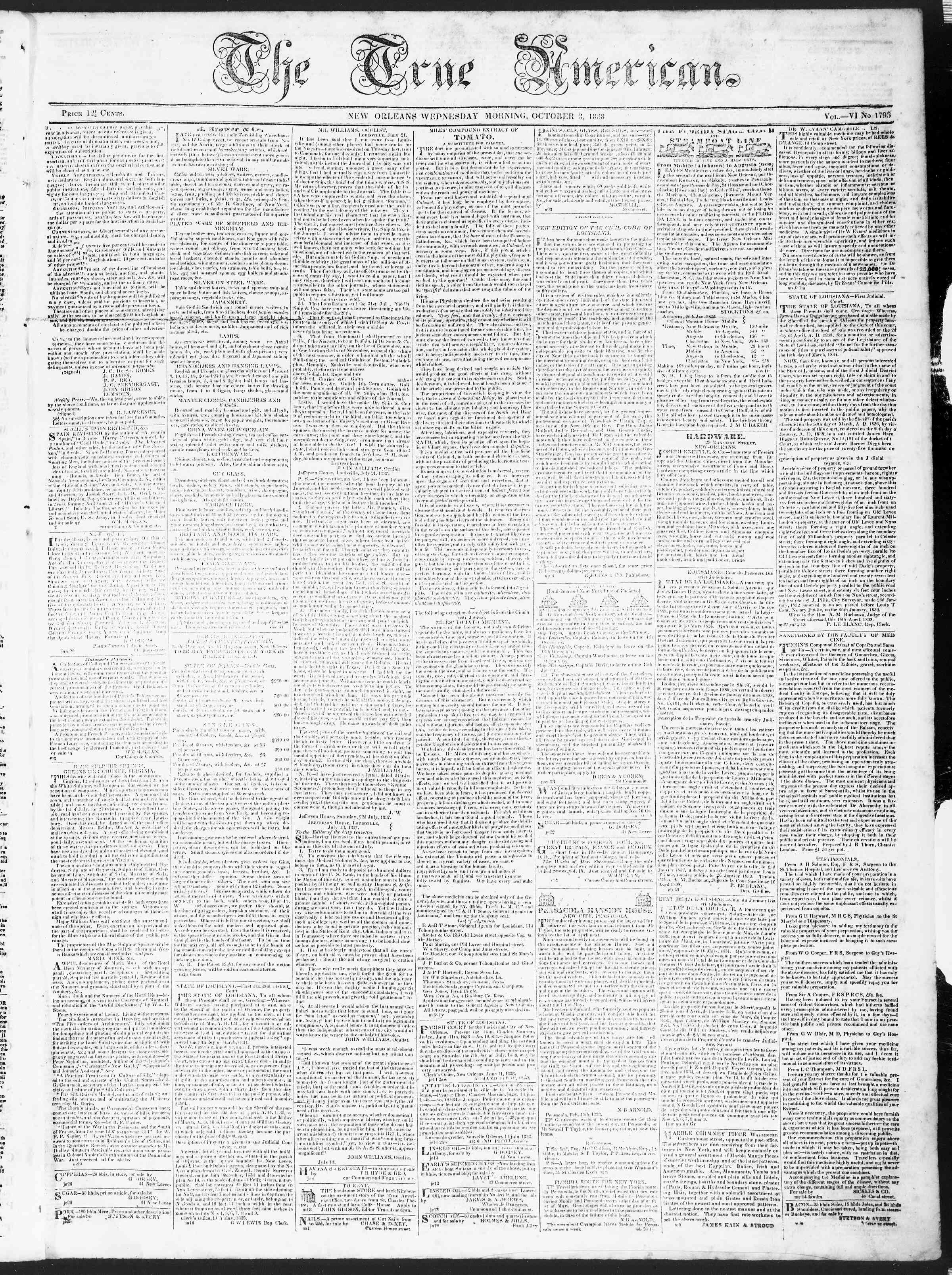 October 3, 1838 Tarihli True American Gazetesi Sayfa 1