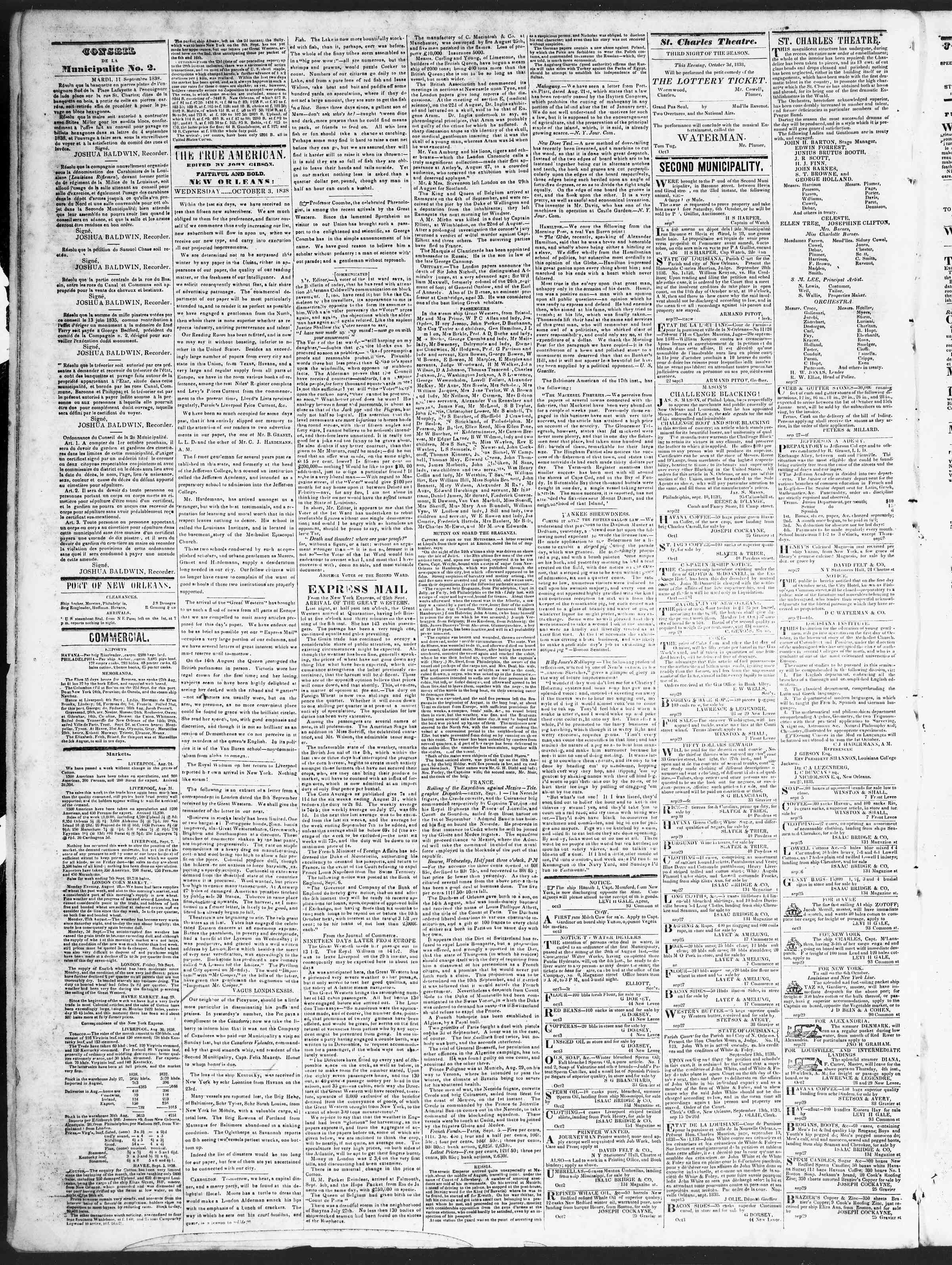 Newspaper of True American dated October 3, 1838 Page 2