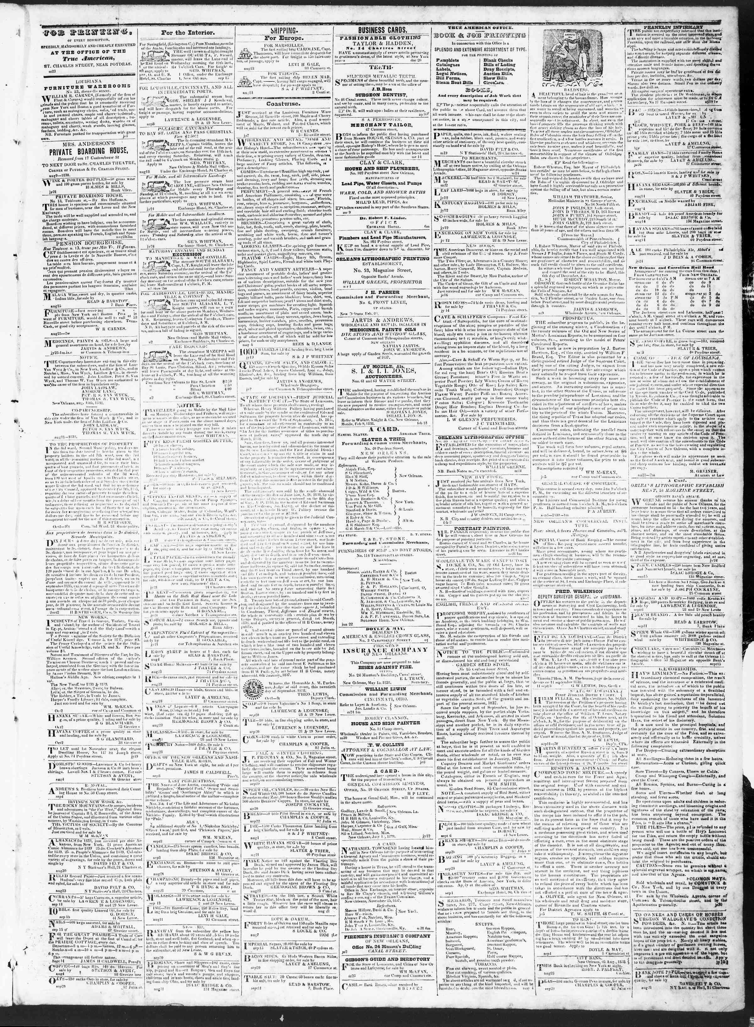 October 3, 1838 Tarihli True American Gazetesi Sayfa 3