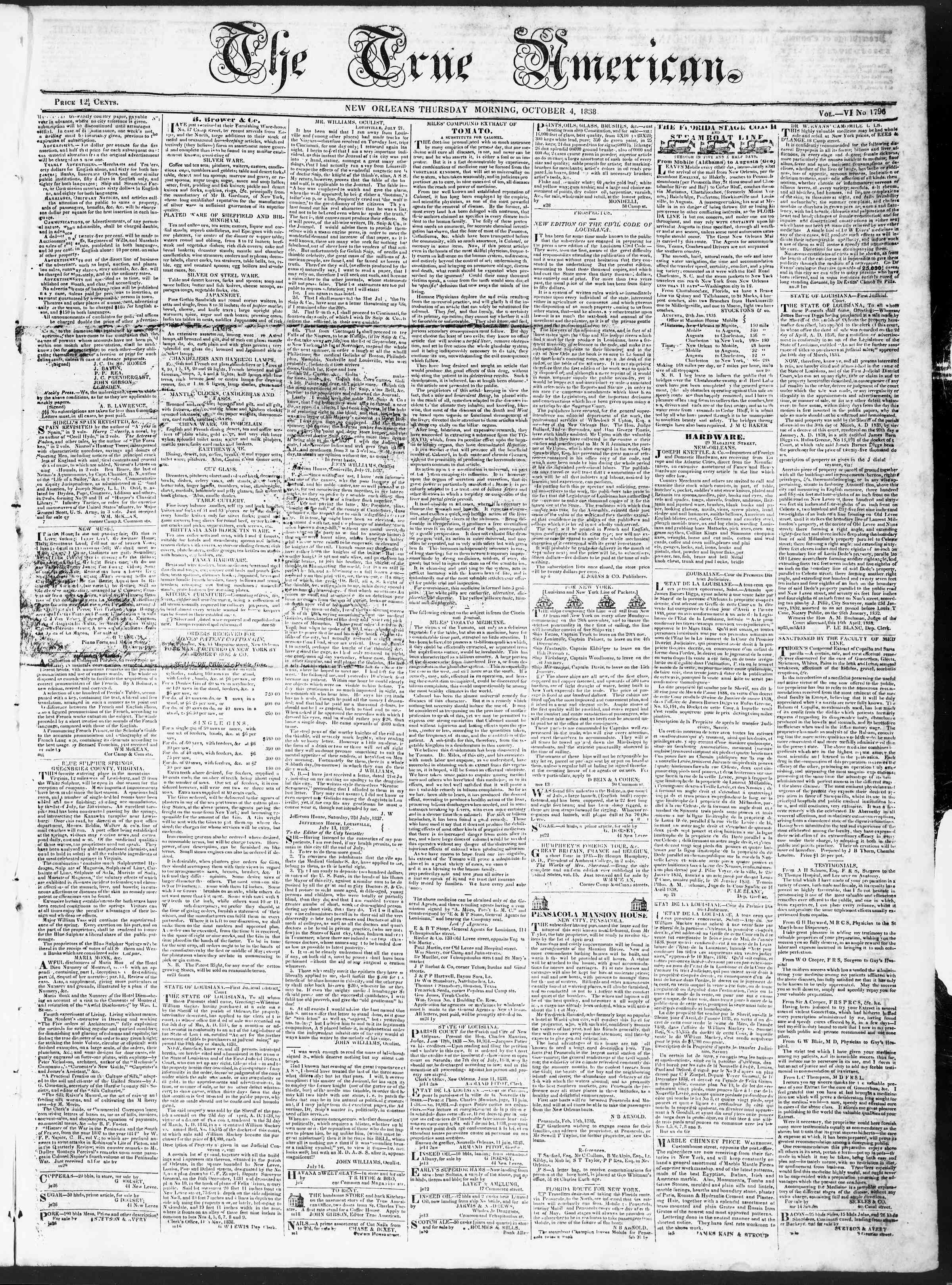 Newspaper of True American dated October 4, 1838 Page 1