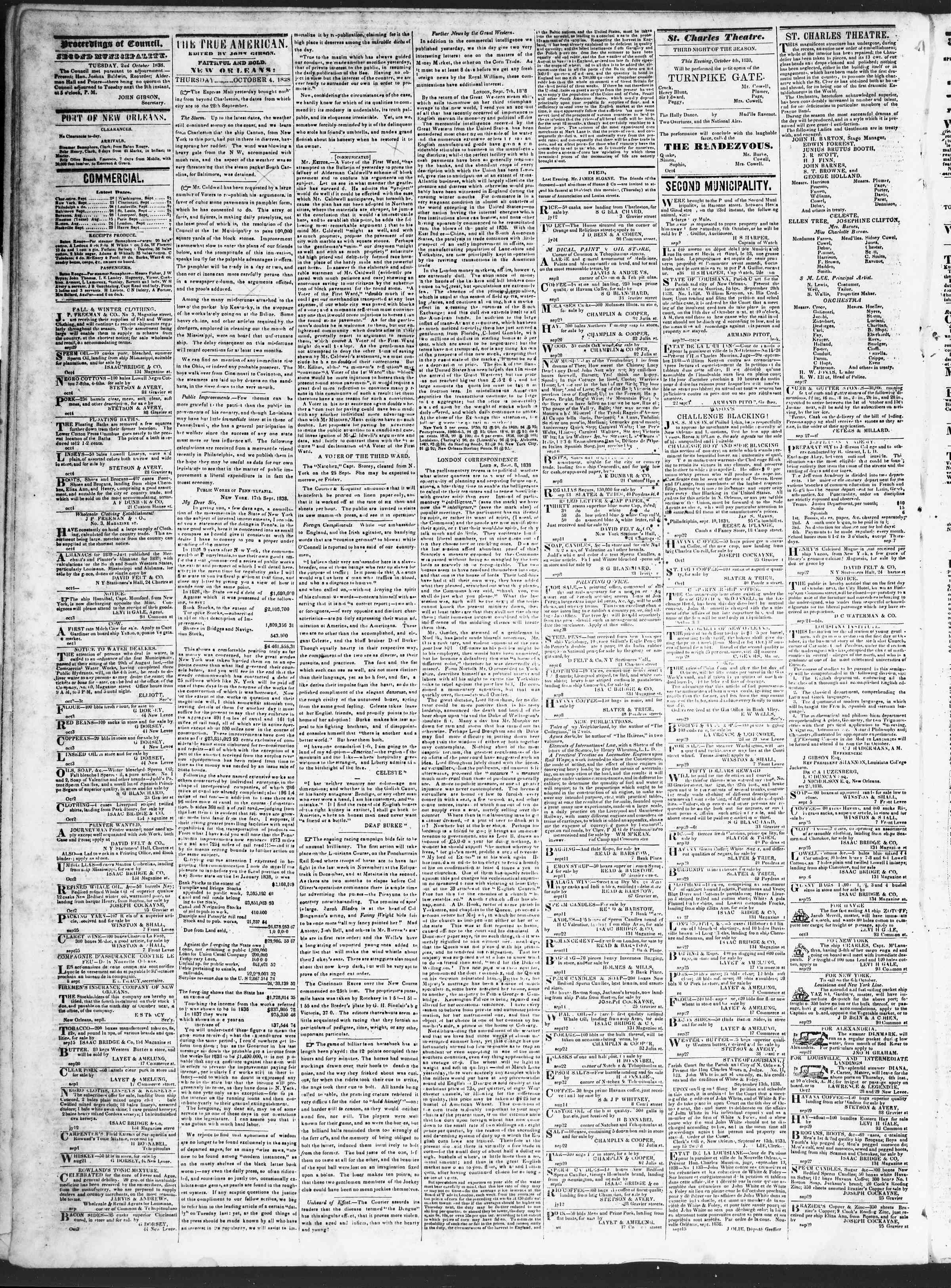 October 4, 1838 Tarihli True American Gazetesi Sayfa 2