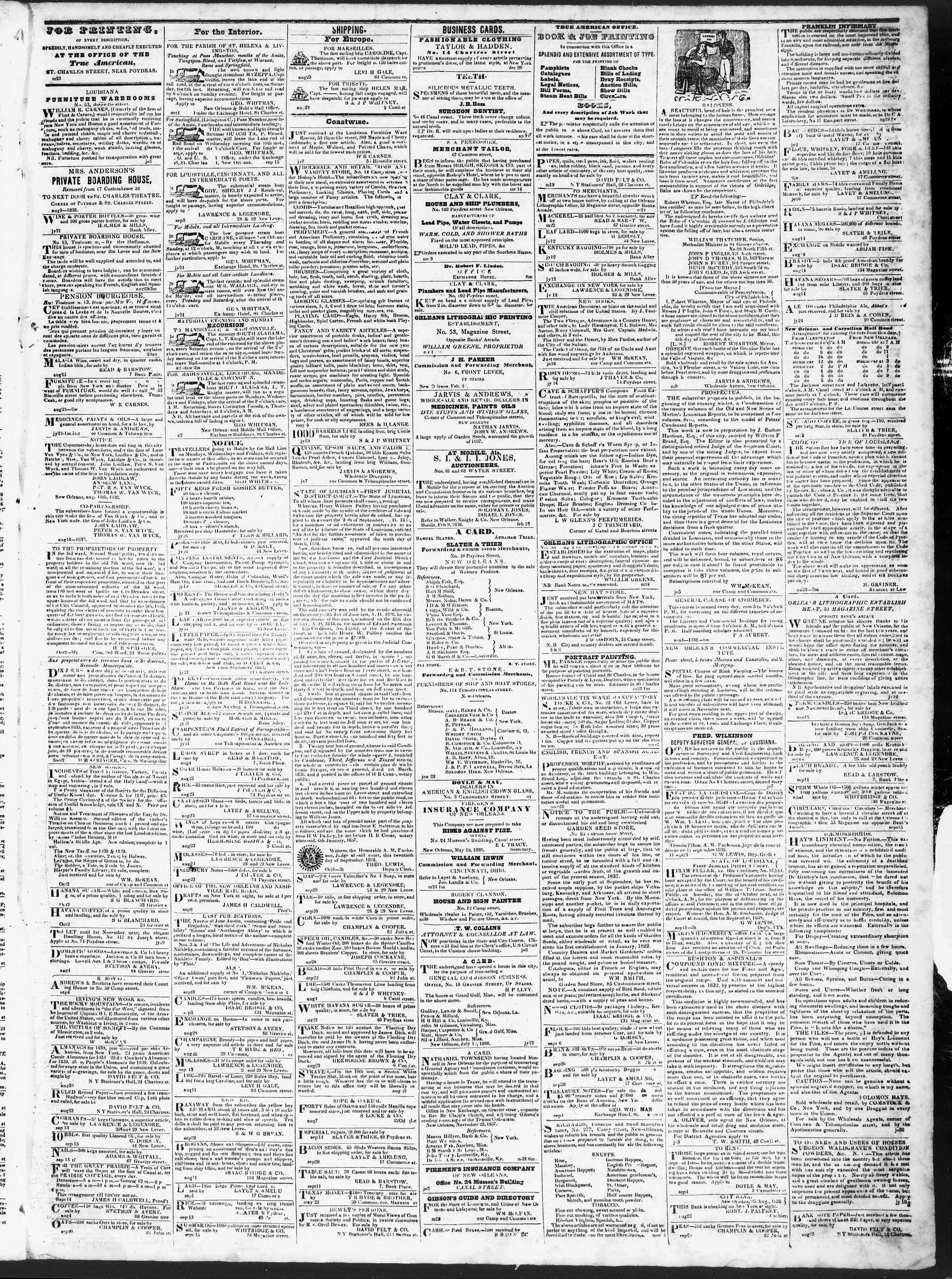 Newspaper of True American dated October 4, 1838 Page 3