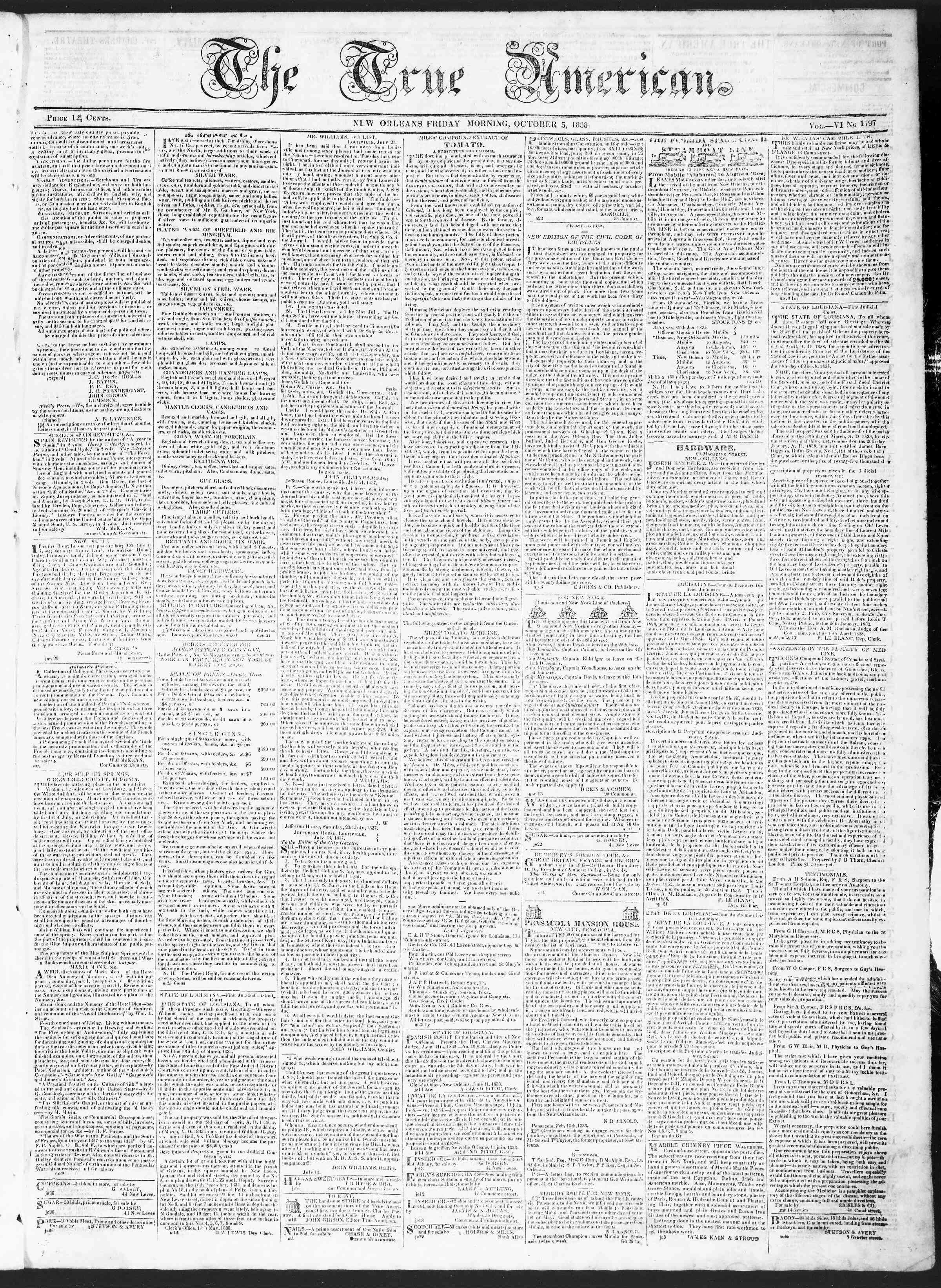 Newspaper of True American dated October 5, 1838 Page 1