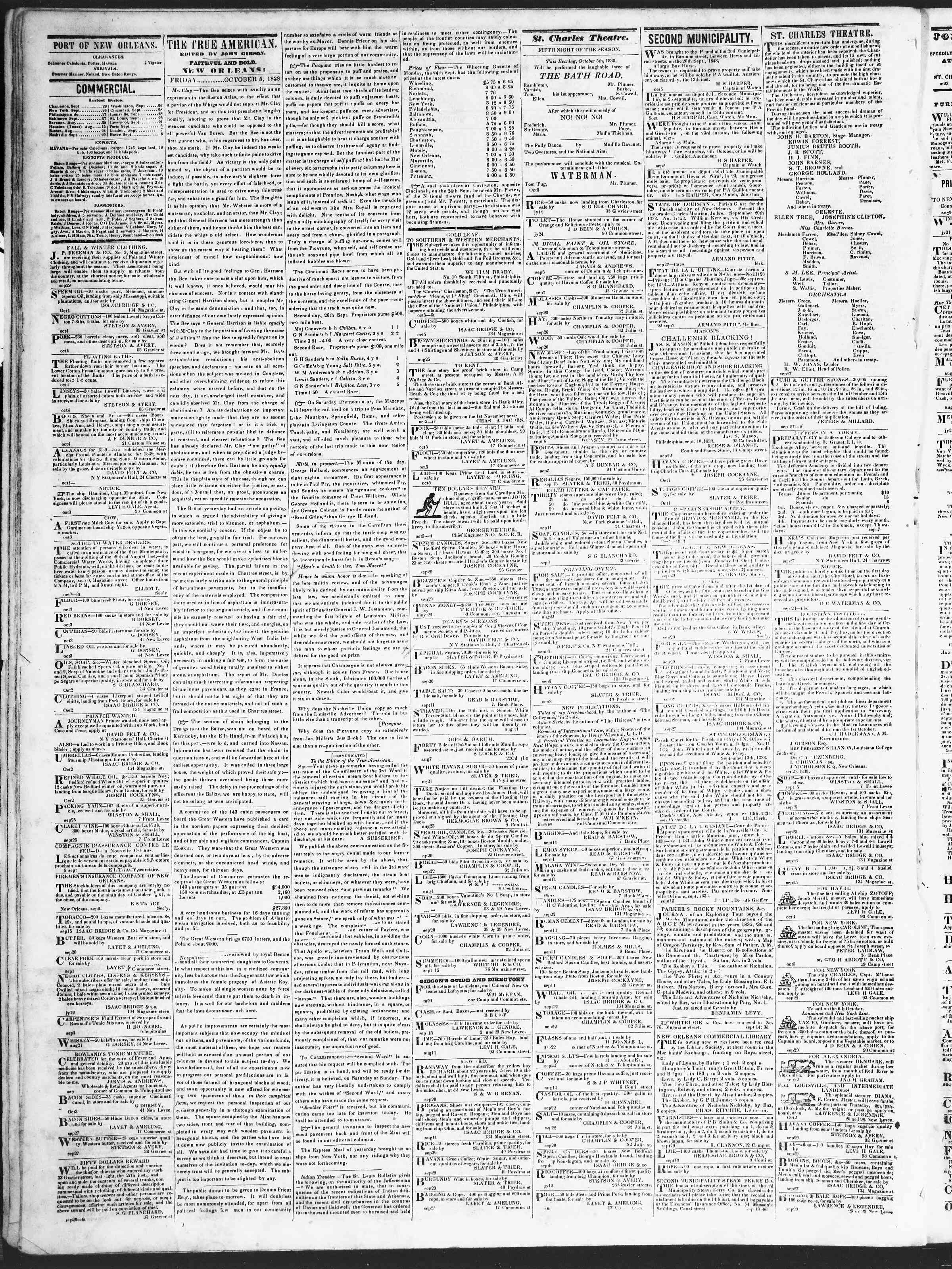 October 5, 1838 Tarihli True American Gazetesi Sayfa 2
