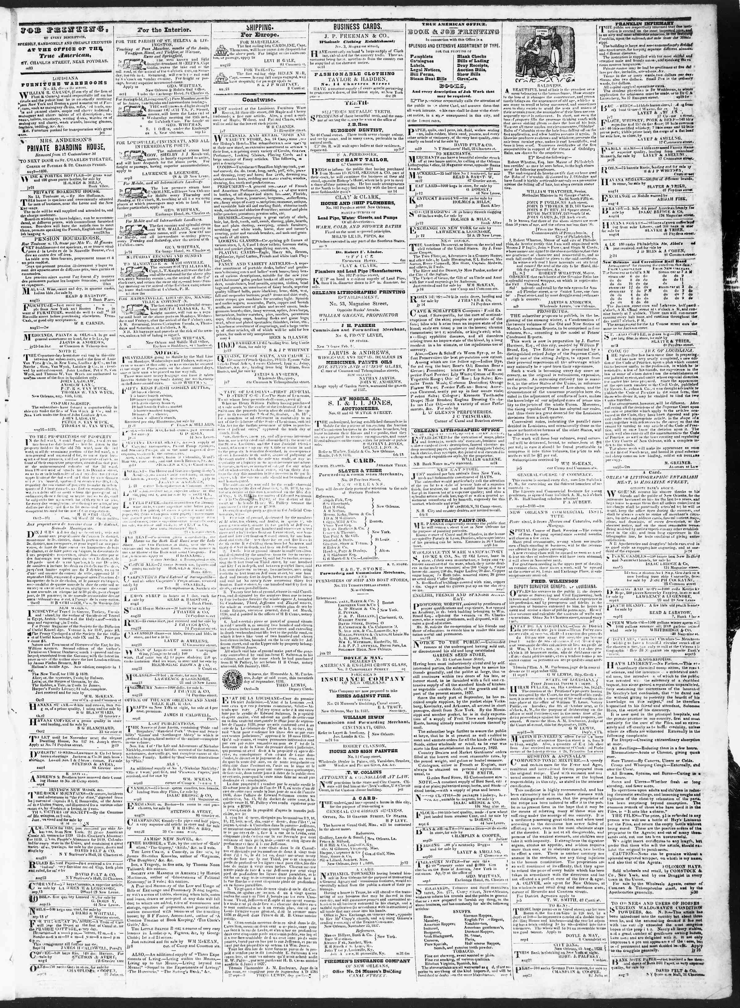 October 5, 1838 Tarihli True American Gazetesi Sayfa 3