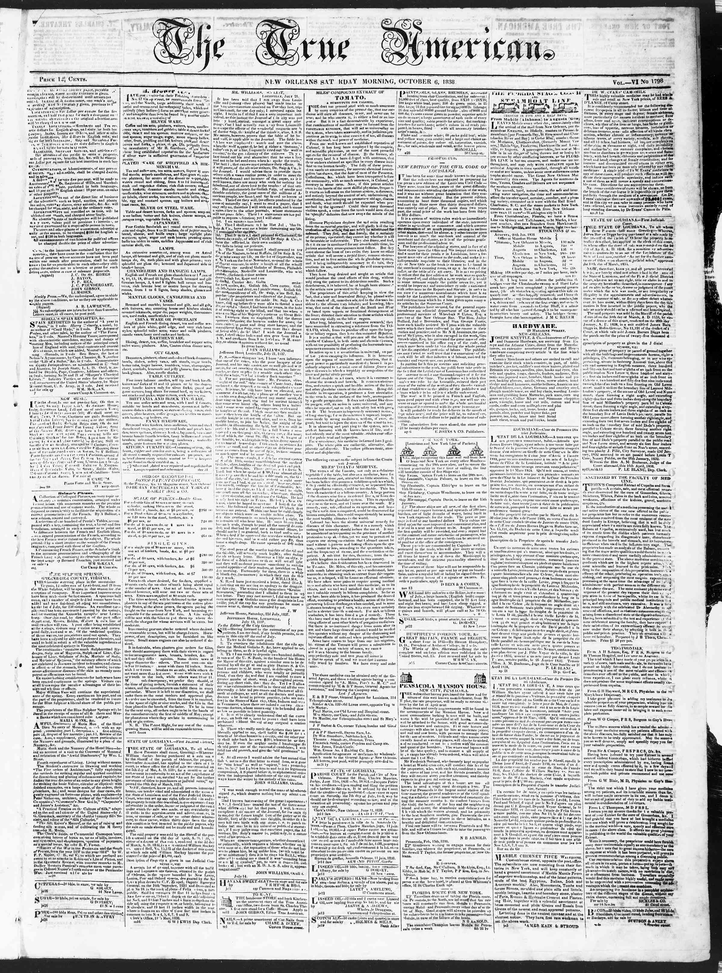 October 6, 1838 Tarihli True American Gazetesi Sayfa 1