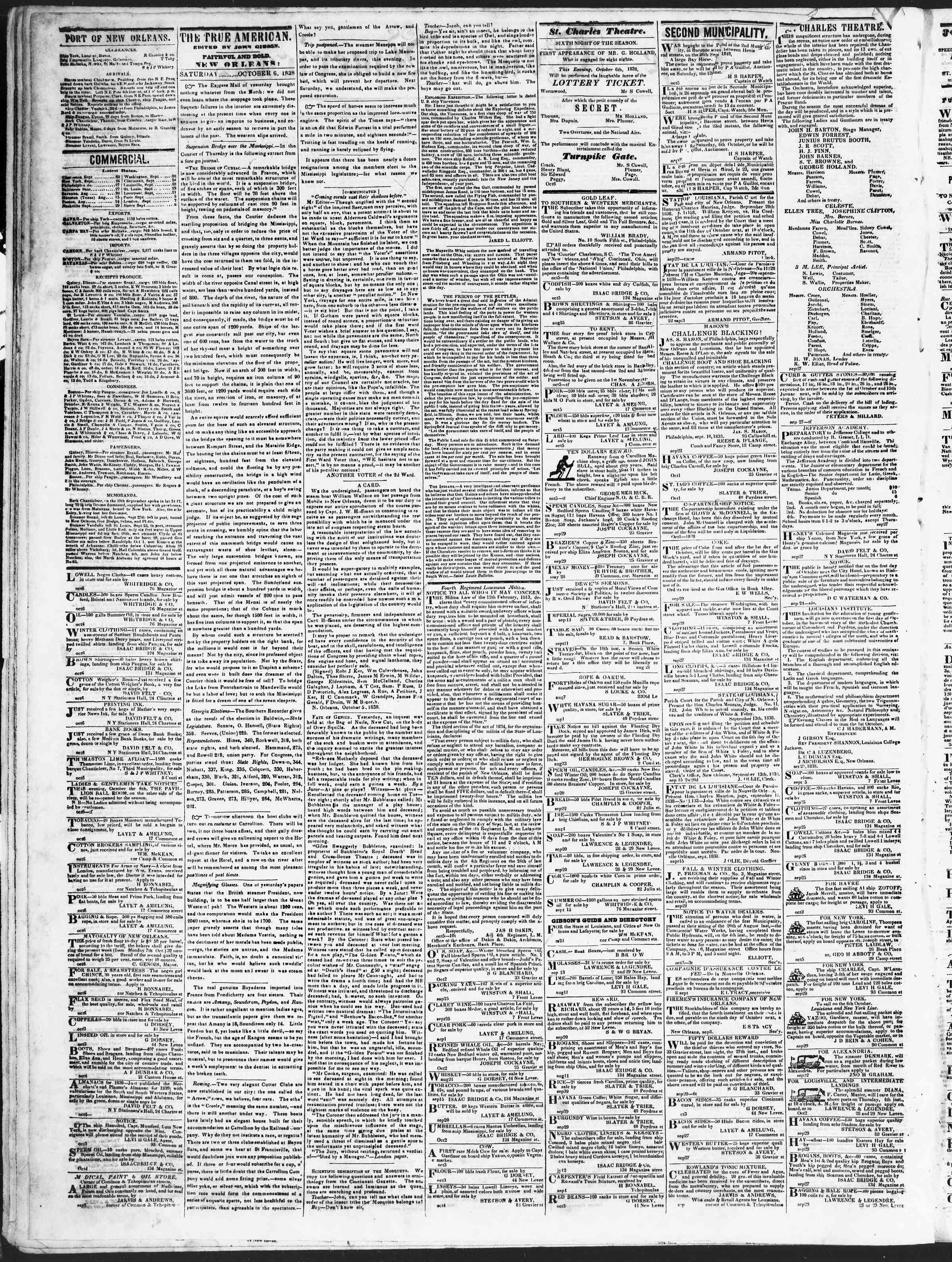 October 6, 1838 Tarihli True American Gazetesi Sayfa 2