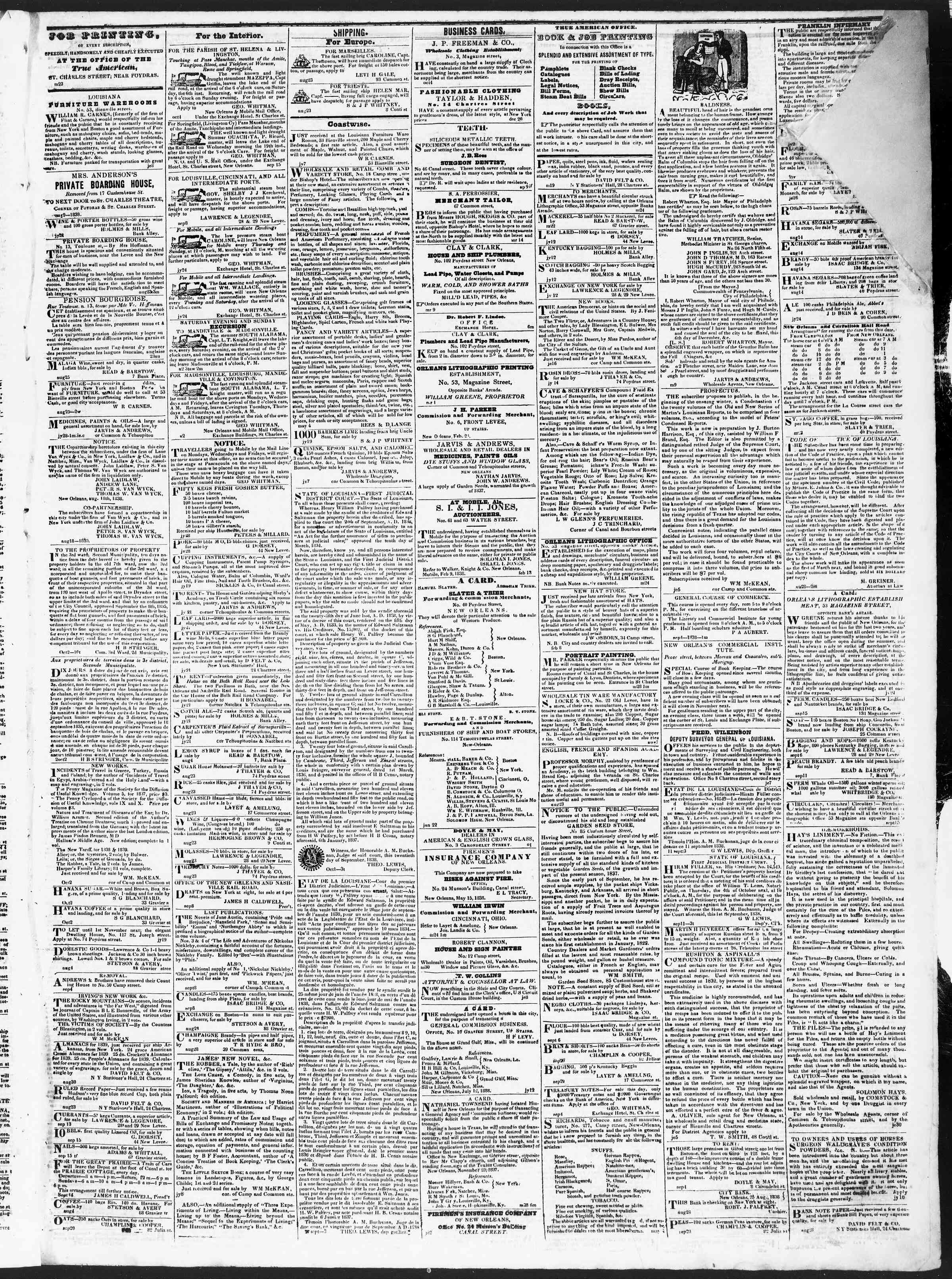 October 6, 1838 Tarihli True American Gazetesi Sayfa 3