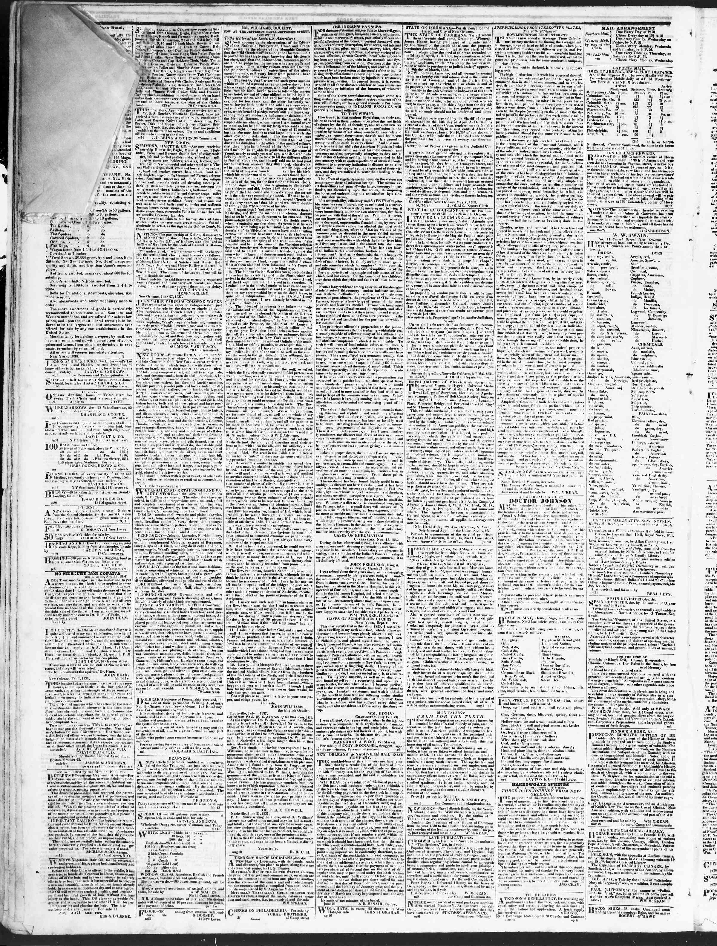 October 6, 1838 Tarihli True American Gazetesi Sayfa 4