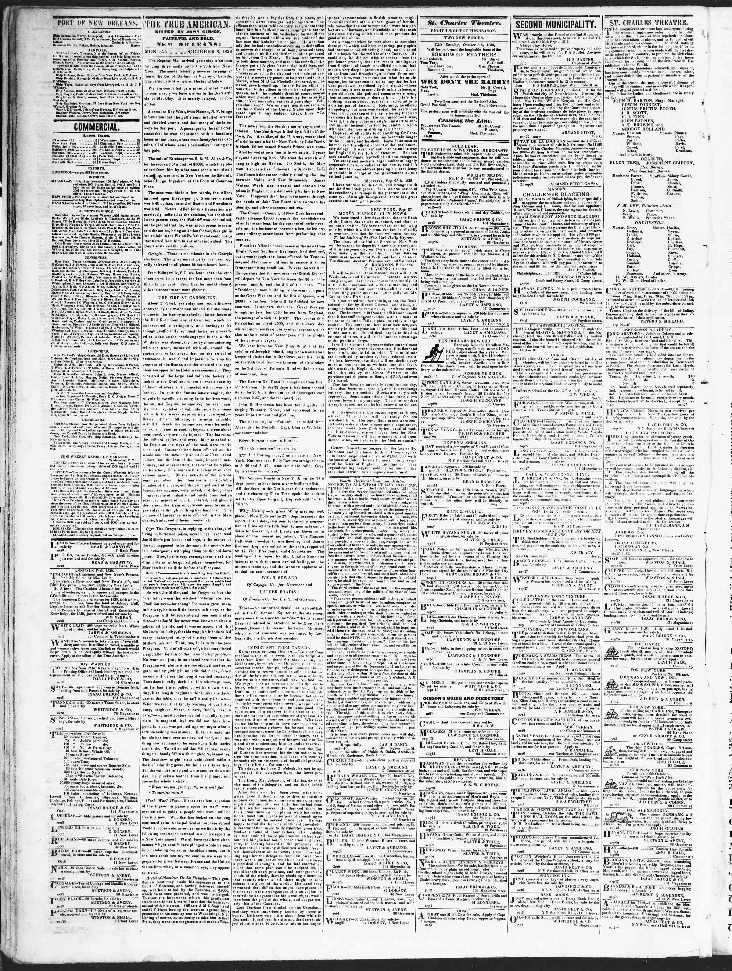 Newspaper of True American dated October 8, 1838 Page 2