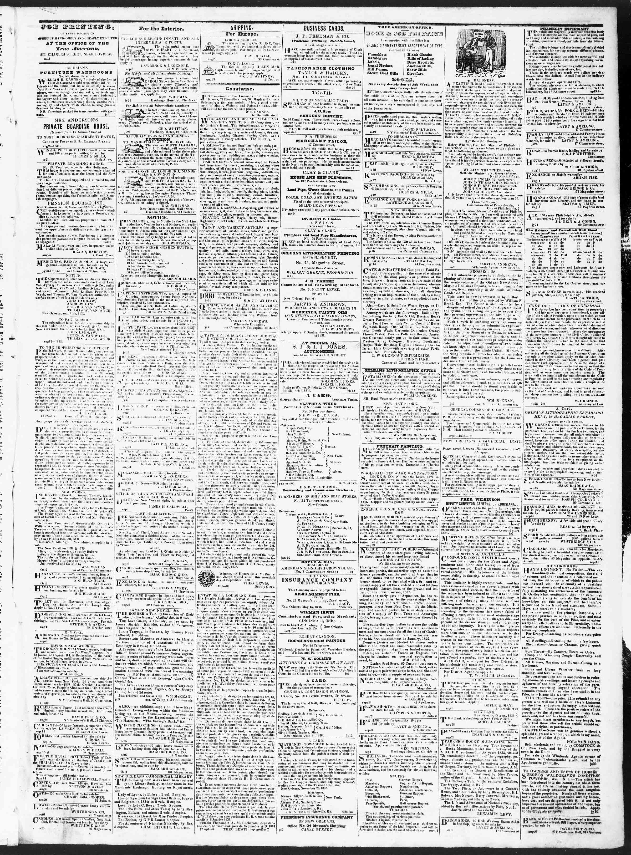 Newspaper of True American dated October 8, 1838 Page 3
