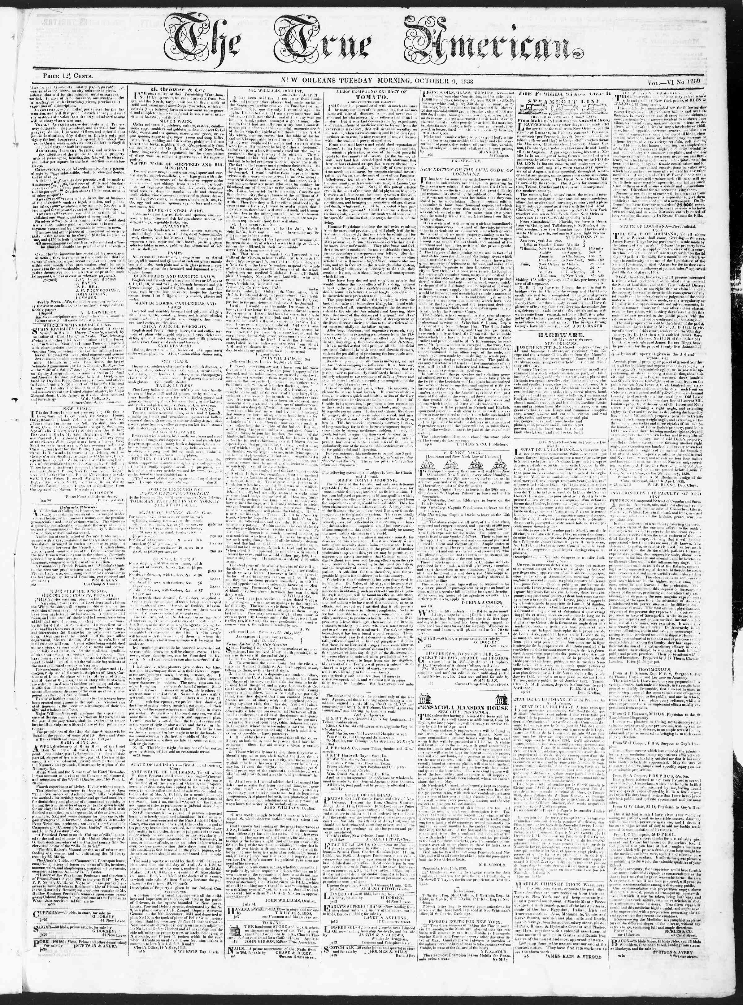 October 9, 1838 Tarihli True American Gazetesi Sayfa 1