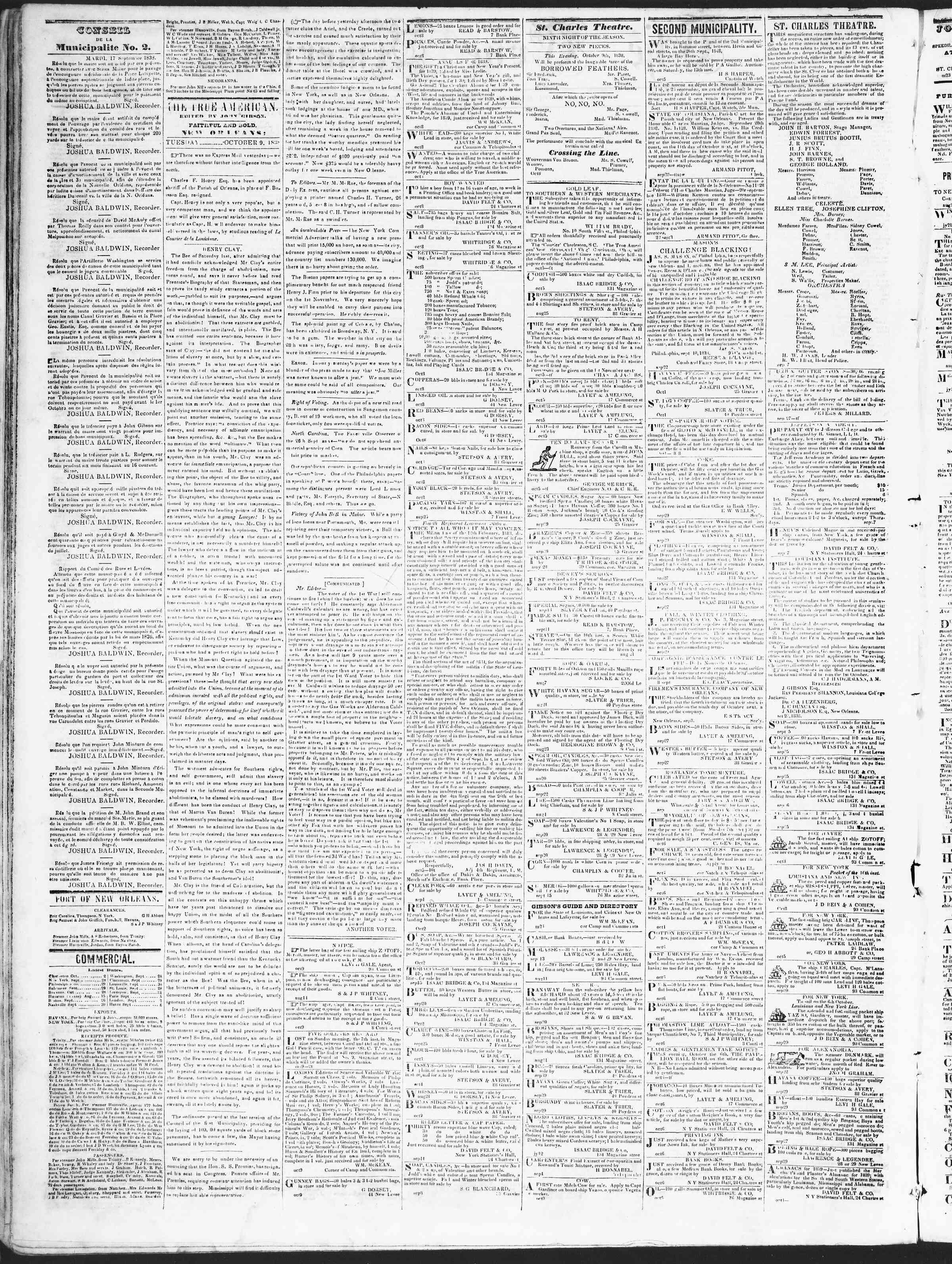 9 Ekim 1838 tarihli True American Gazetesi Sayfa 2