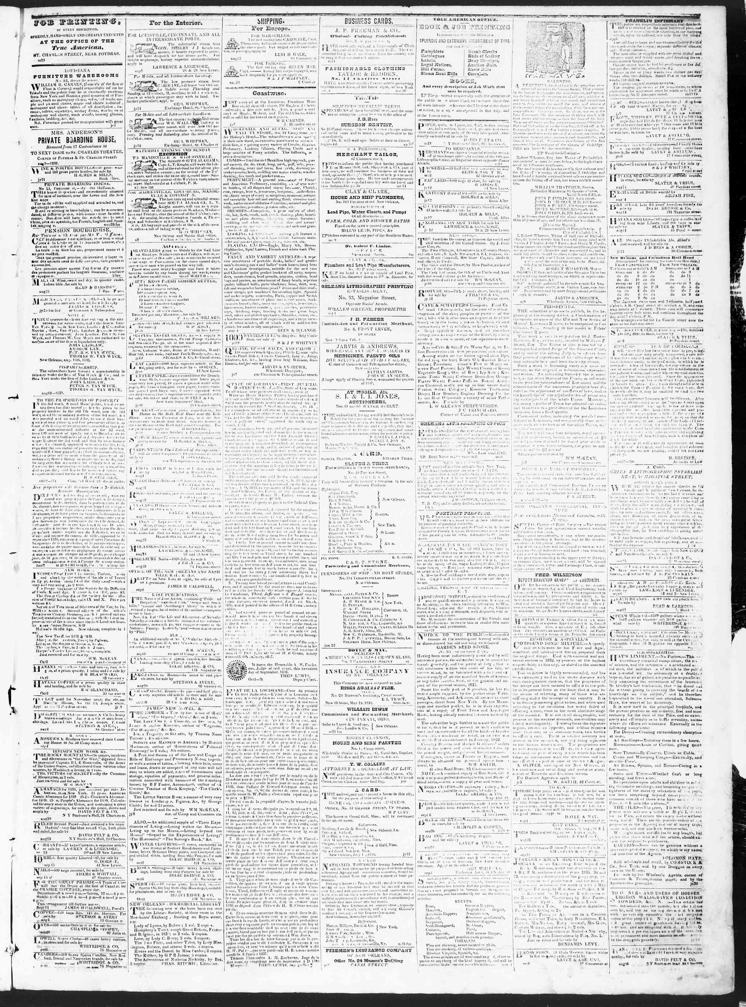 October 9, 1838 Tarihli True American Gazetesi Sayfa 3