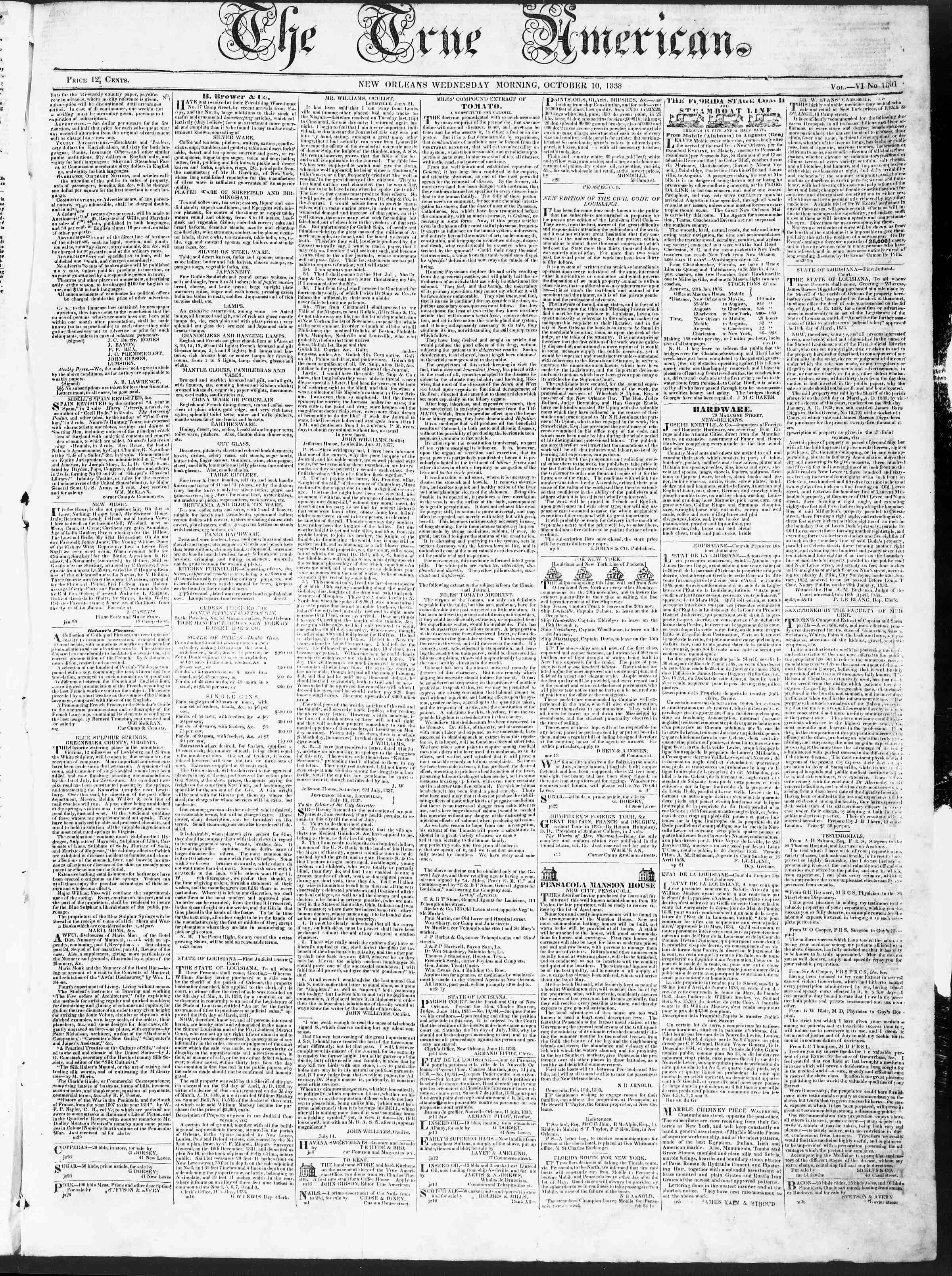 October 10, 1838 Tarihli True American Gazetesi Sayfa 1