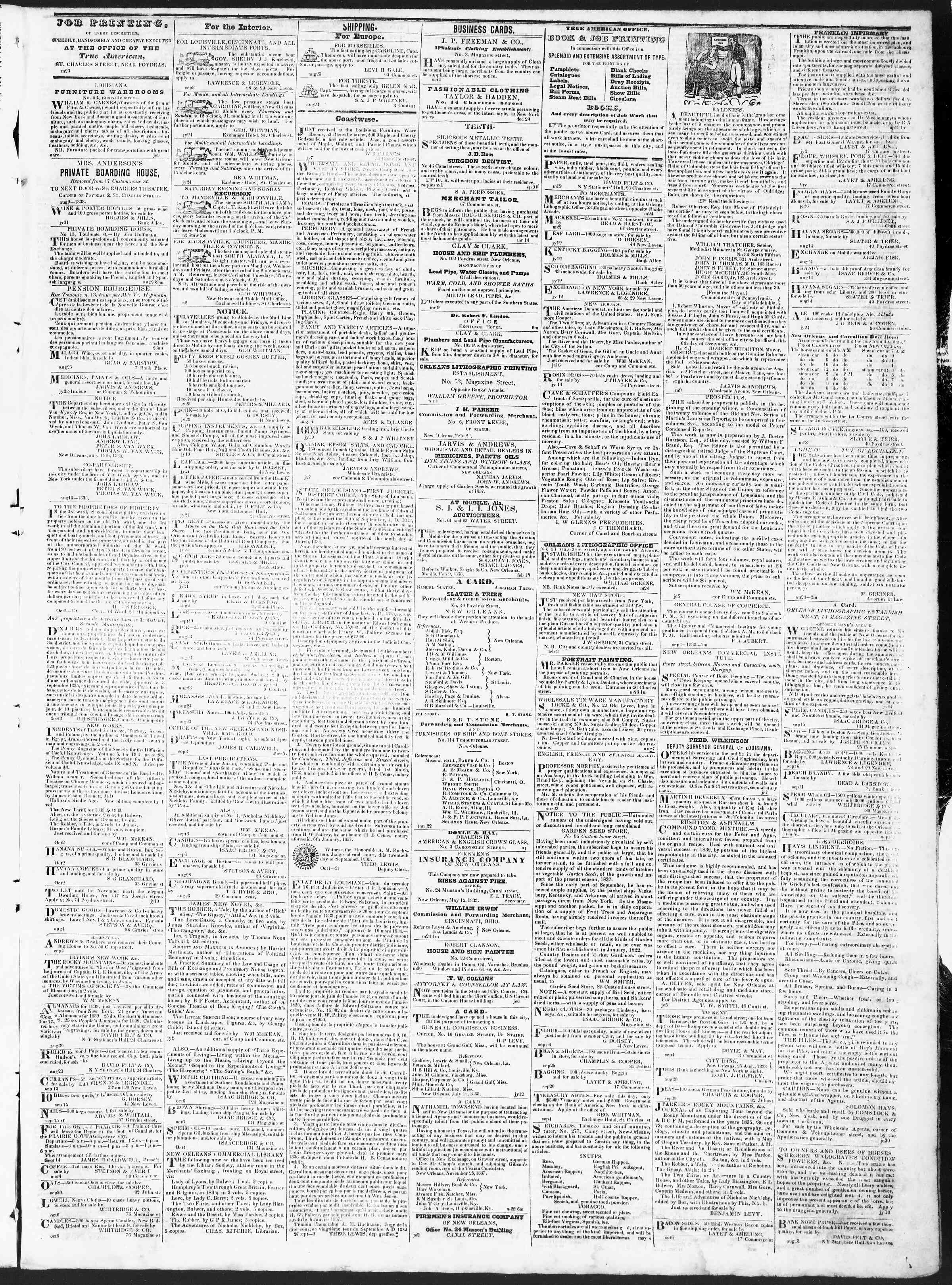 Newspaper of True American dated October 10, 1838 Page 3