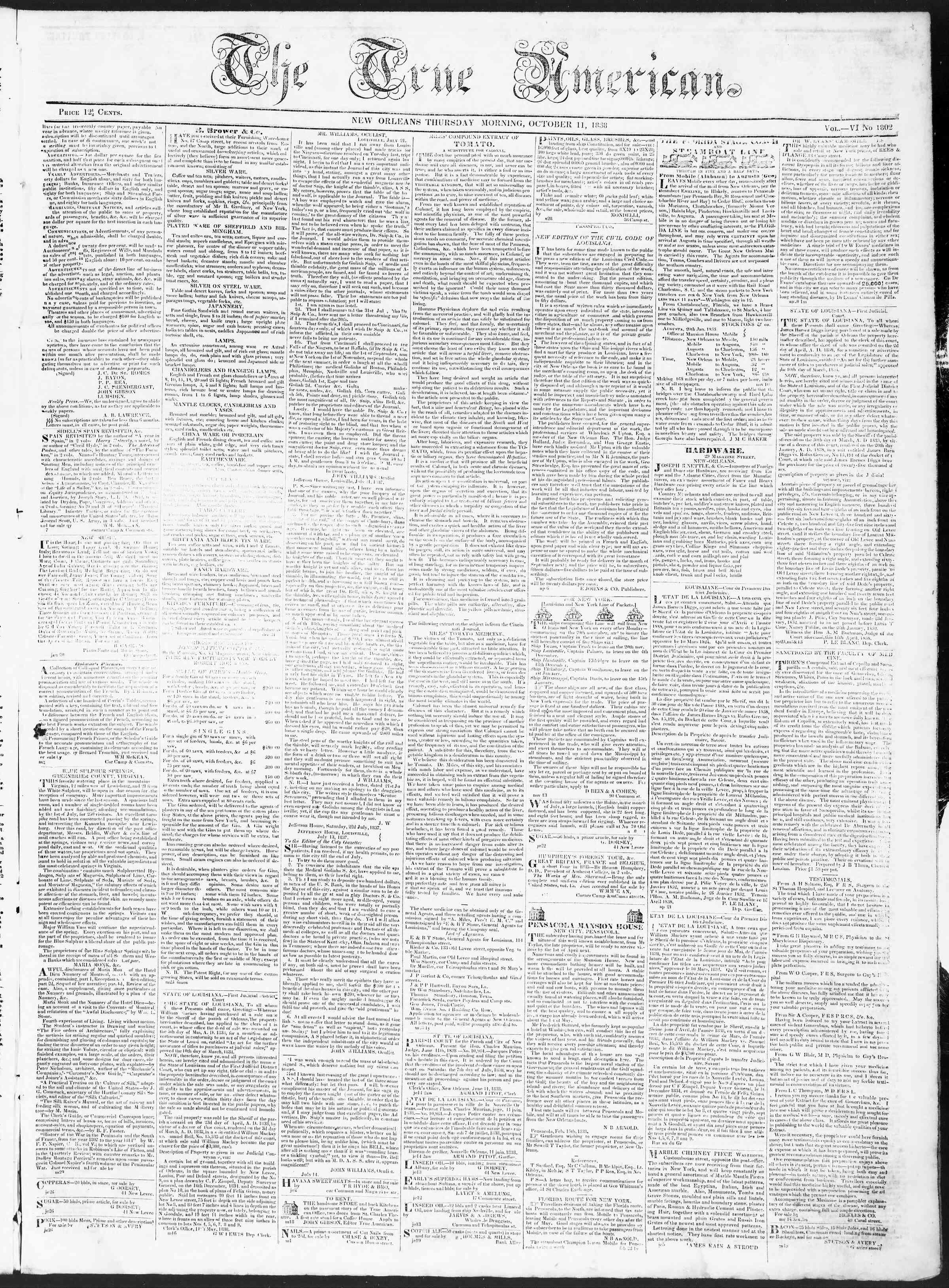 October 11, 1838 Tarihli True American Gazetesi Sayfa 1