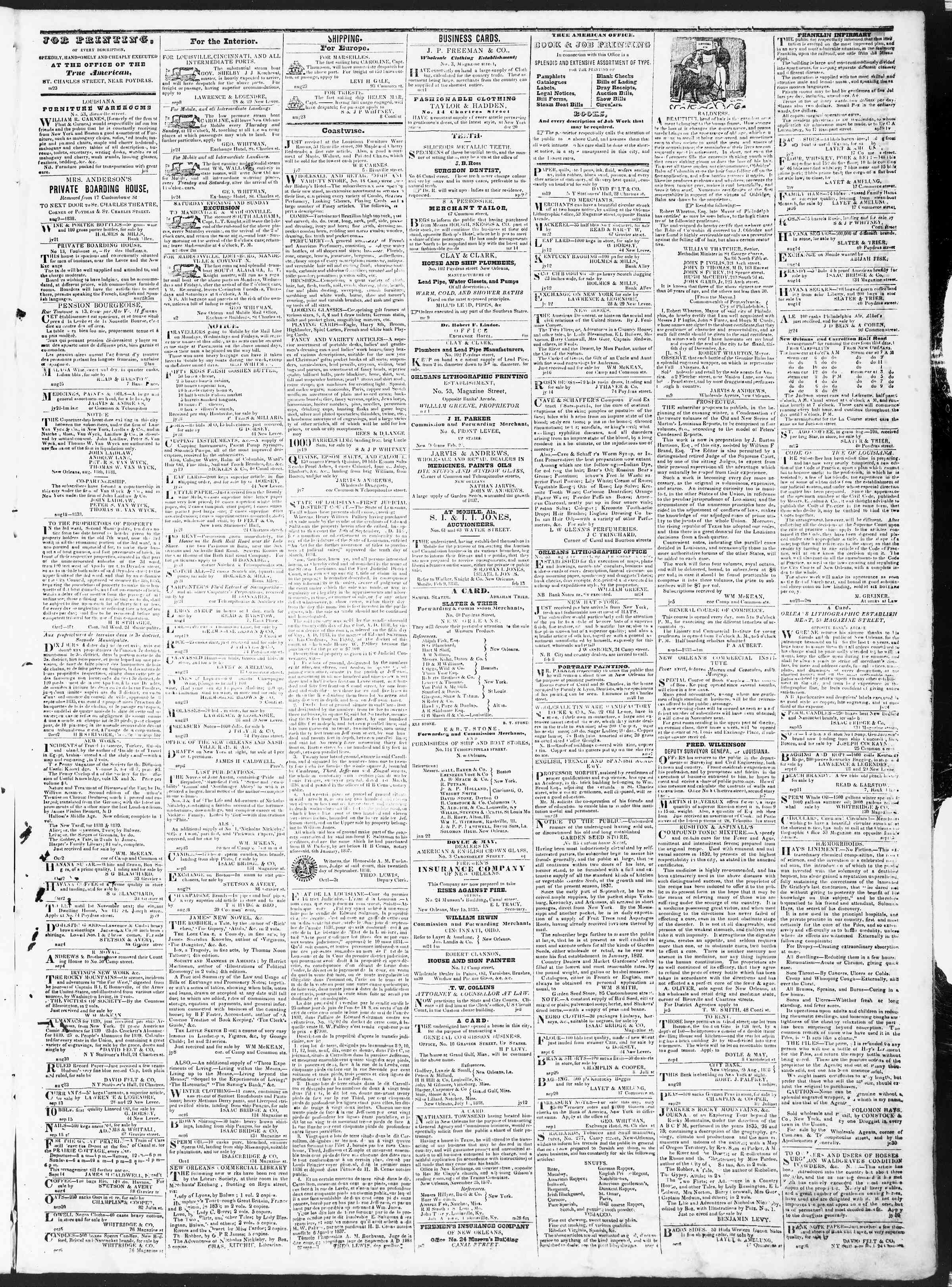Newspaper of True American dated October 11, 1838 Page 3