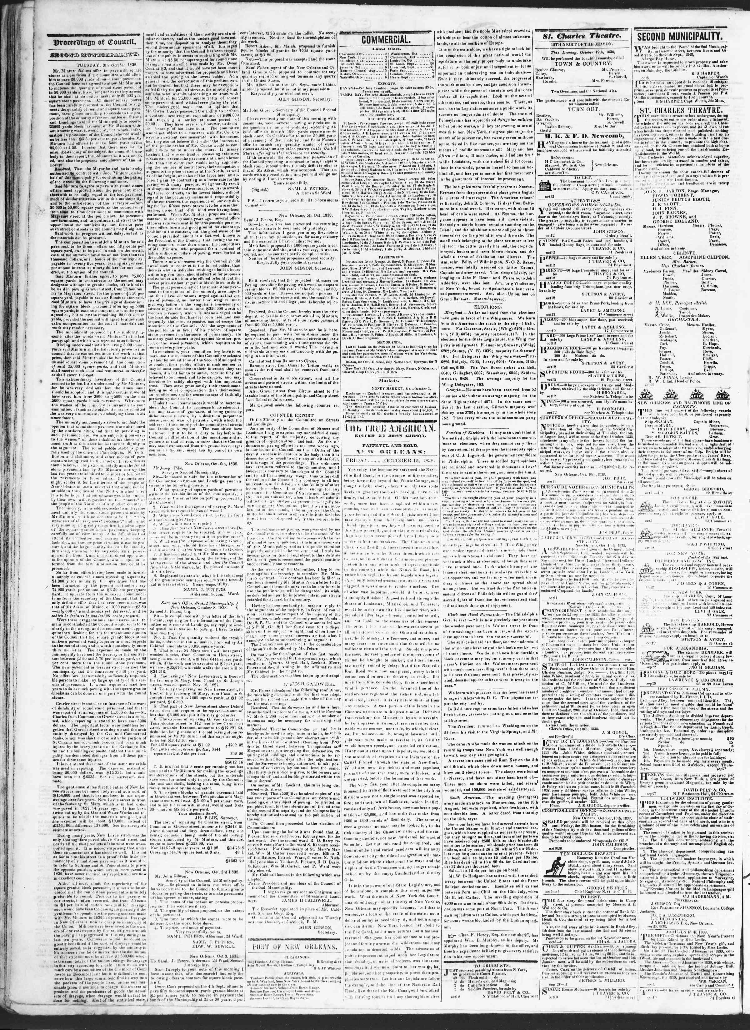 October 12, 1838 Tarihli True American Gazetesi Sayfa 2