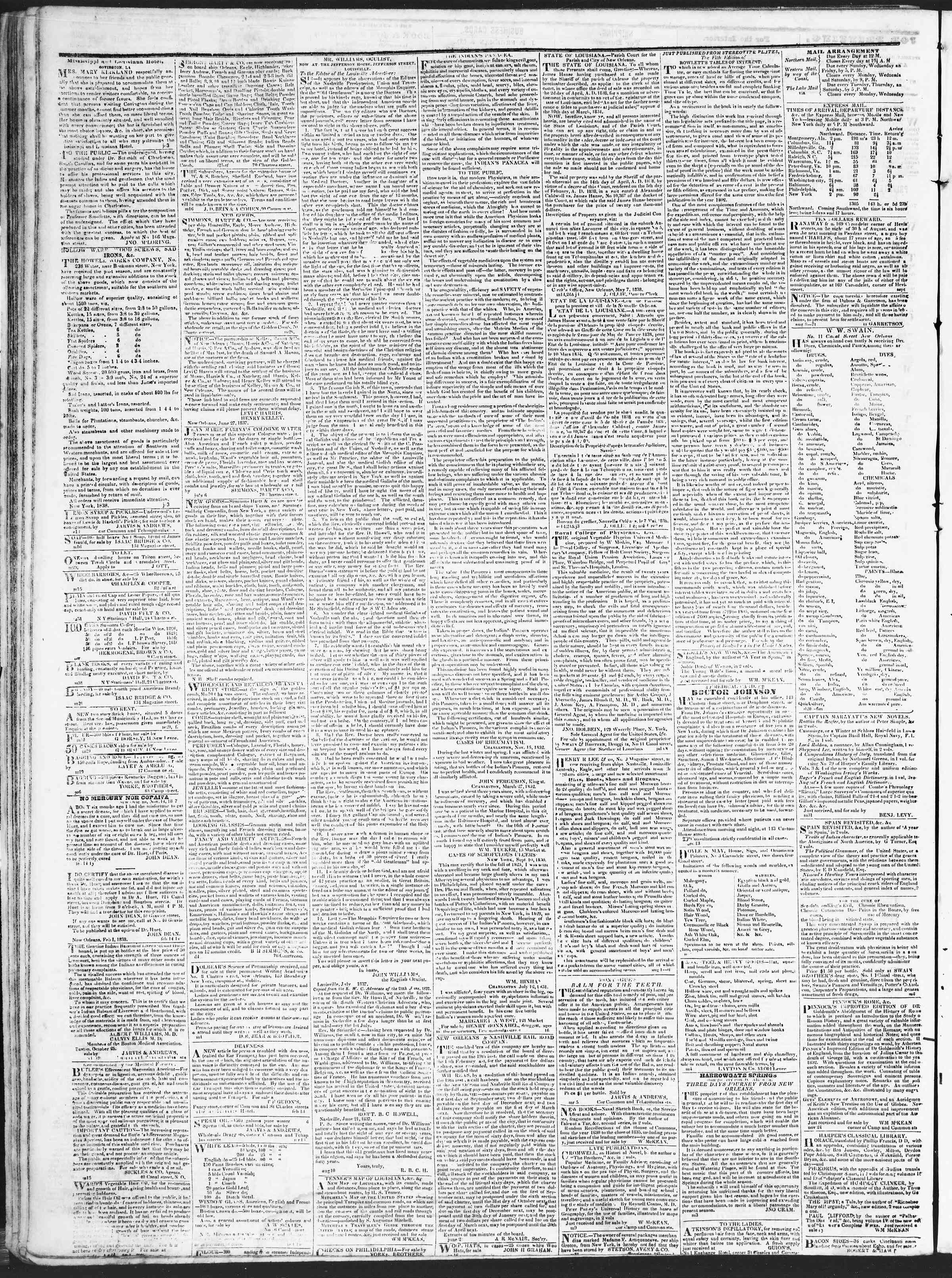 October 12, 1838 Tarihli True American Gazetesi Sayfa 4