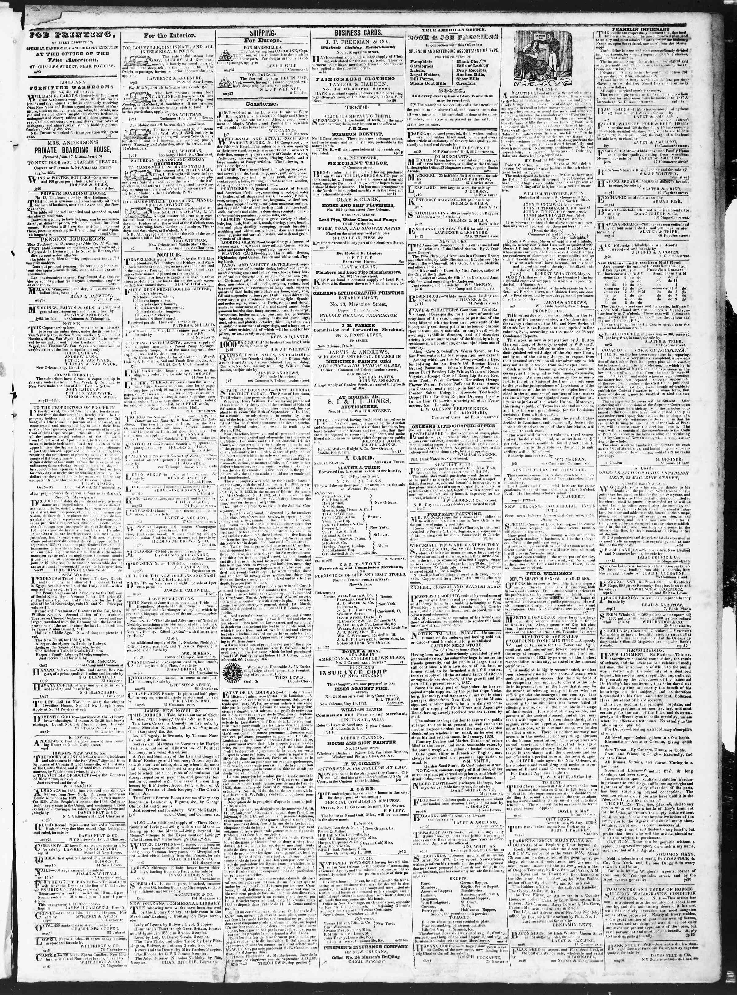 October 13, 1838 Tarihli True American Gazetesi Sayfa 3
