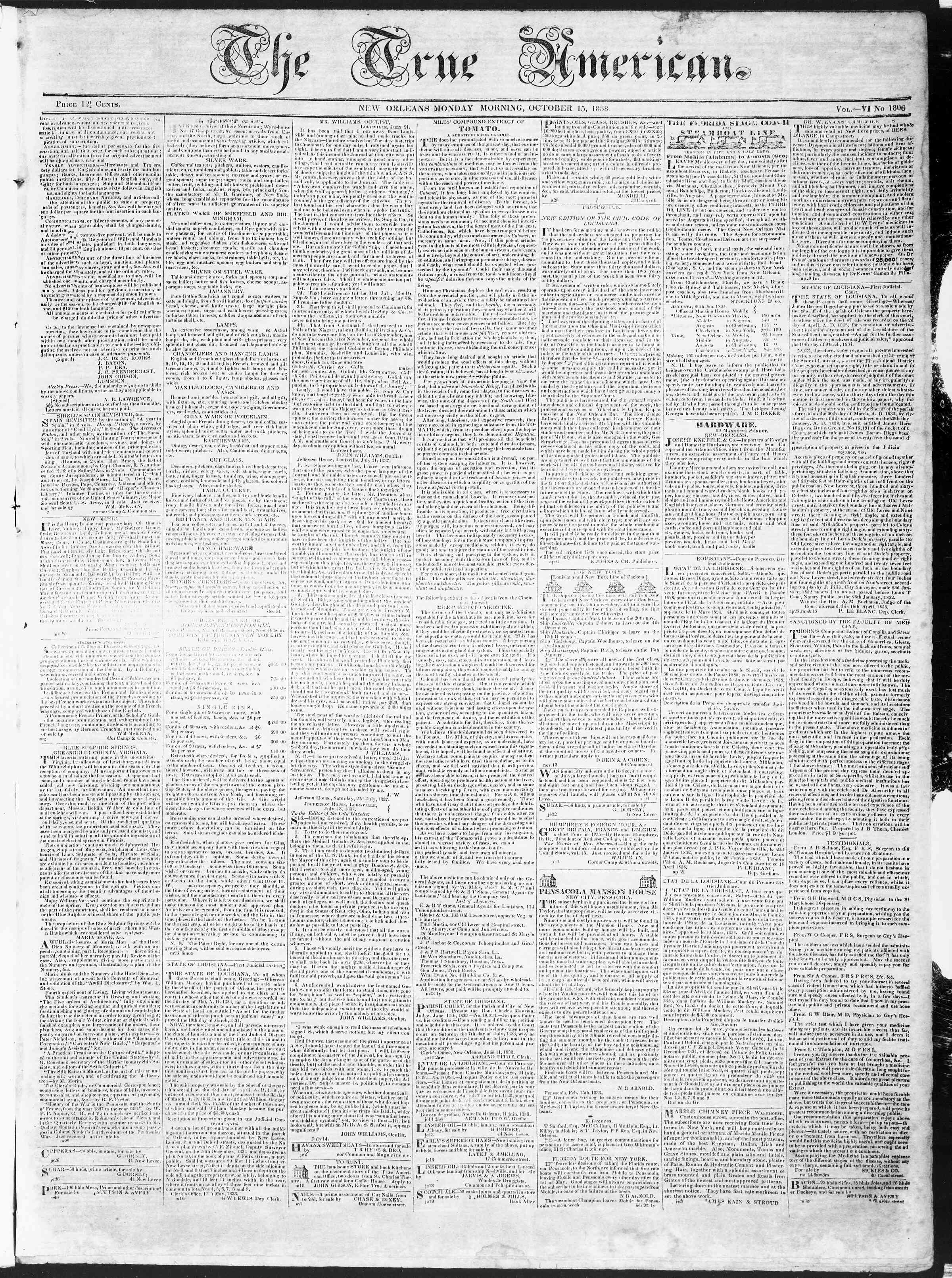 Newspaper of True American dated October 15, 1838 Page 1