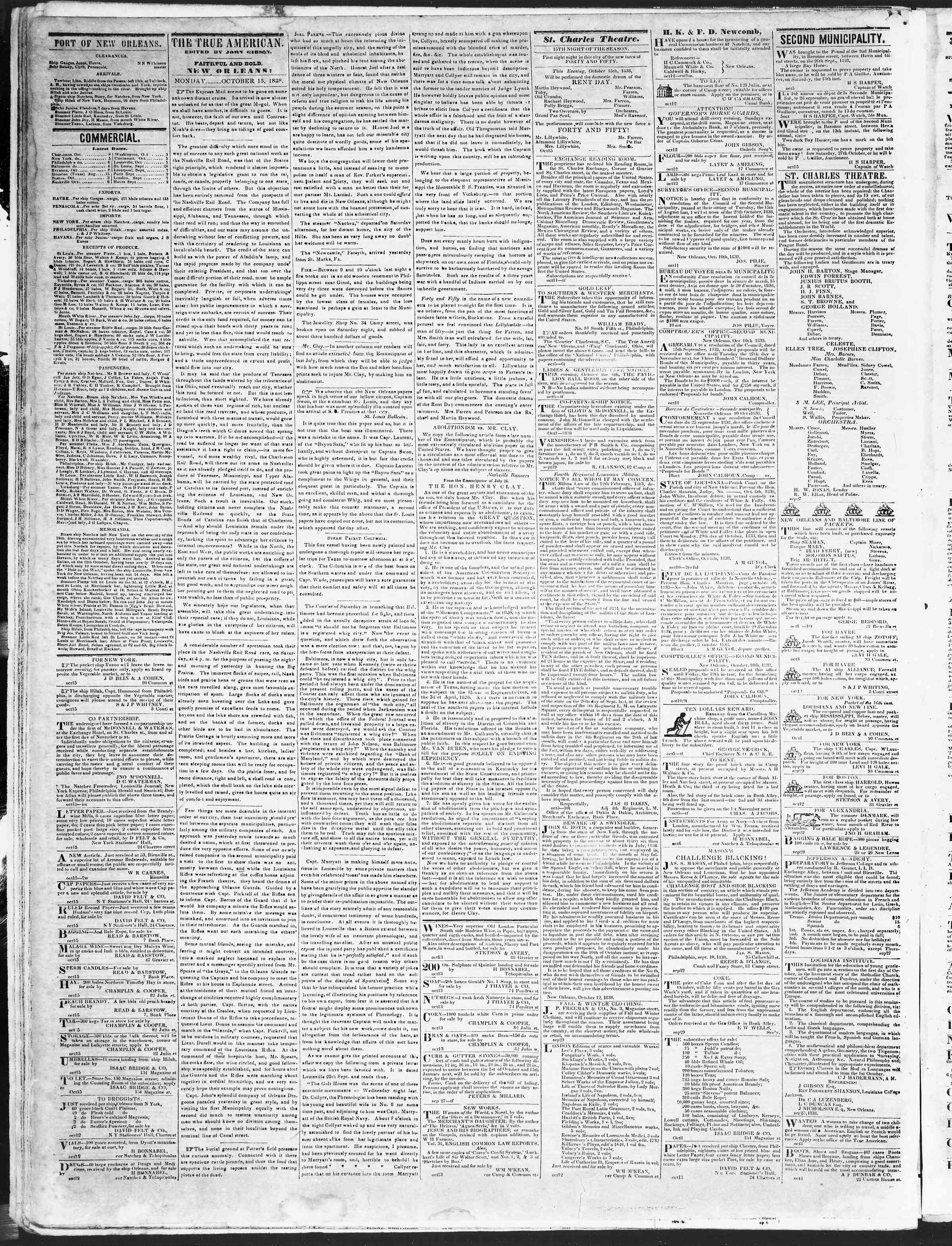 Newspaper of True American dated October 15, 1838 Page 2