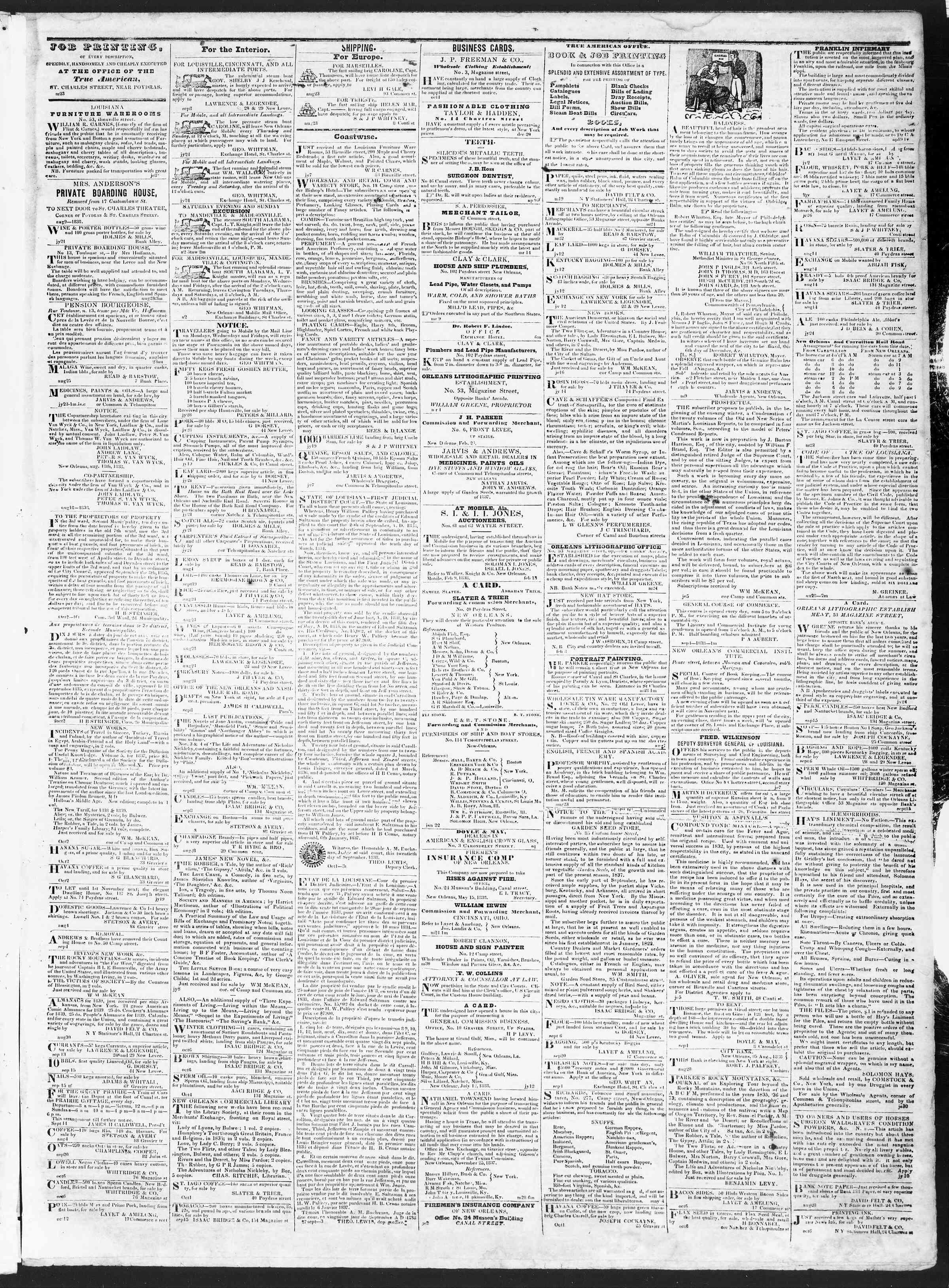 October 15, 1838 Tarihli True American Gazetesi Sayfa 3