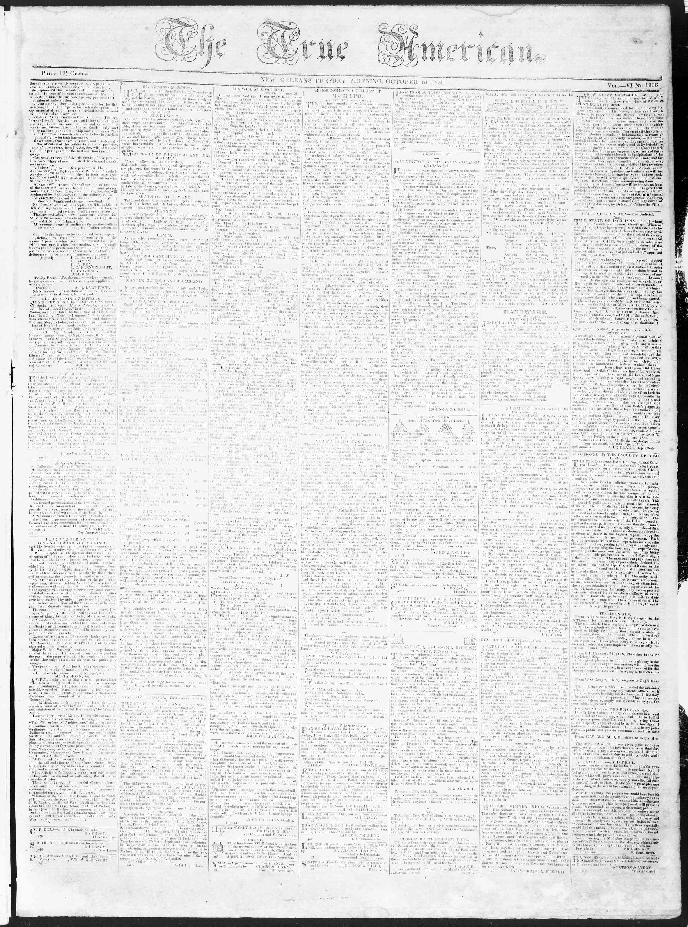 Newspaper of True American dated October 16, 1838 Page 1