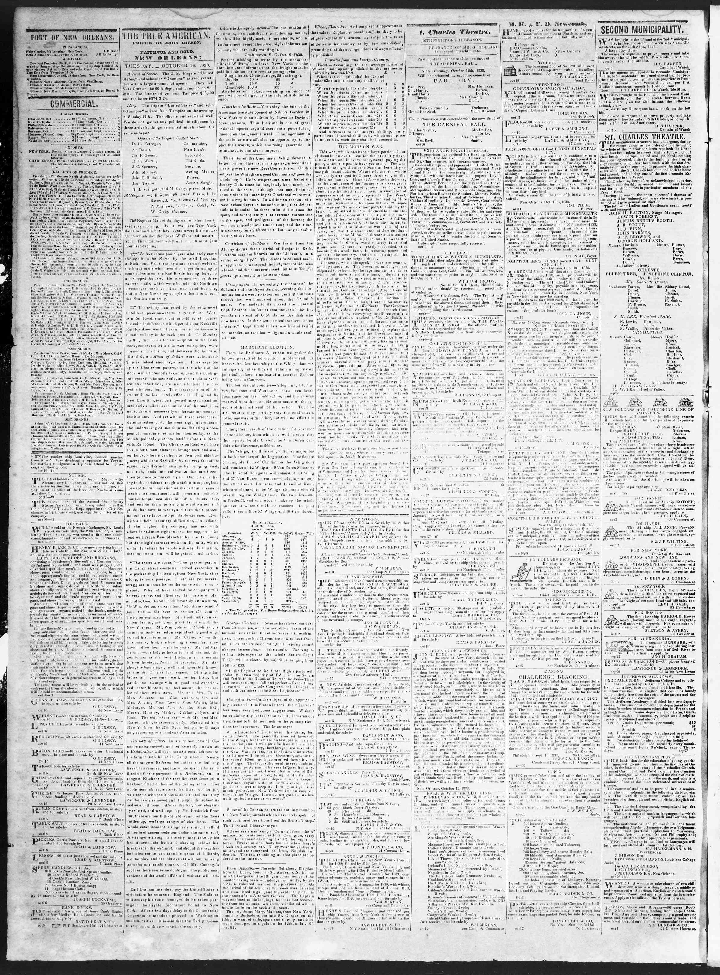 October 16, 1838 Tarihli True American Gazetesi Sayfa 2