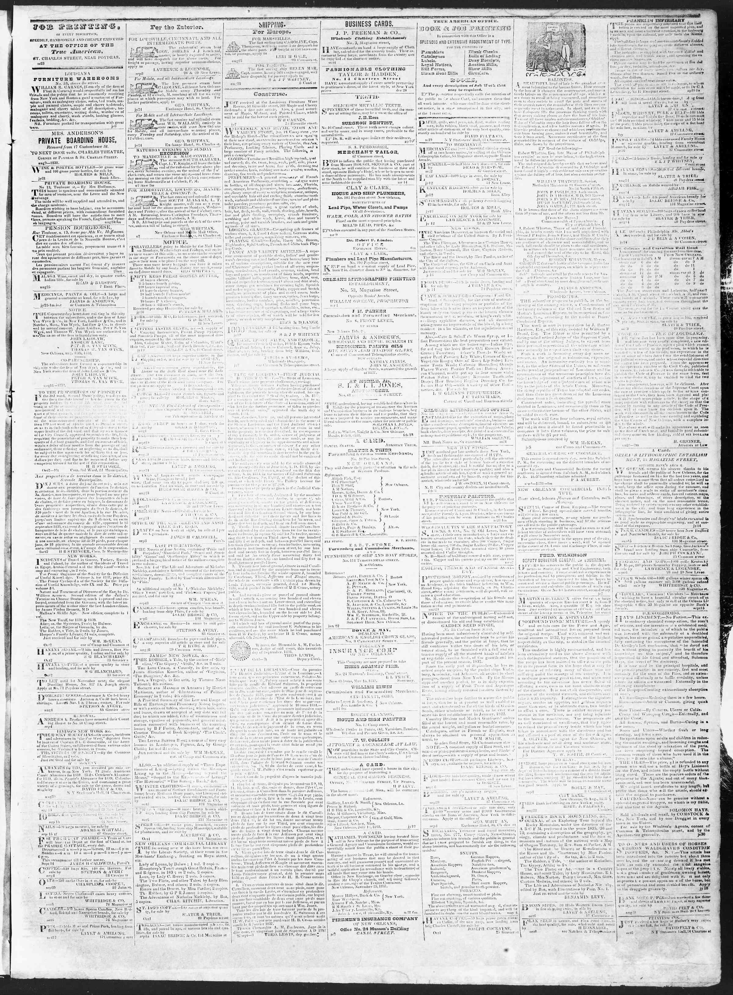 16 Ekim 1838 Tarihli True American Gazetesi Sayfa 3