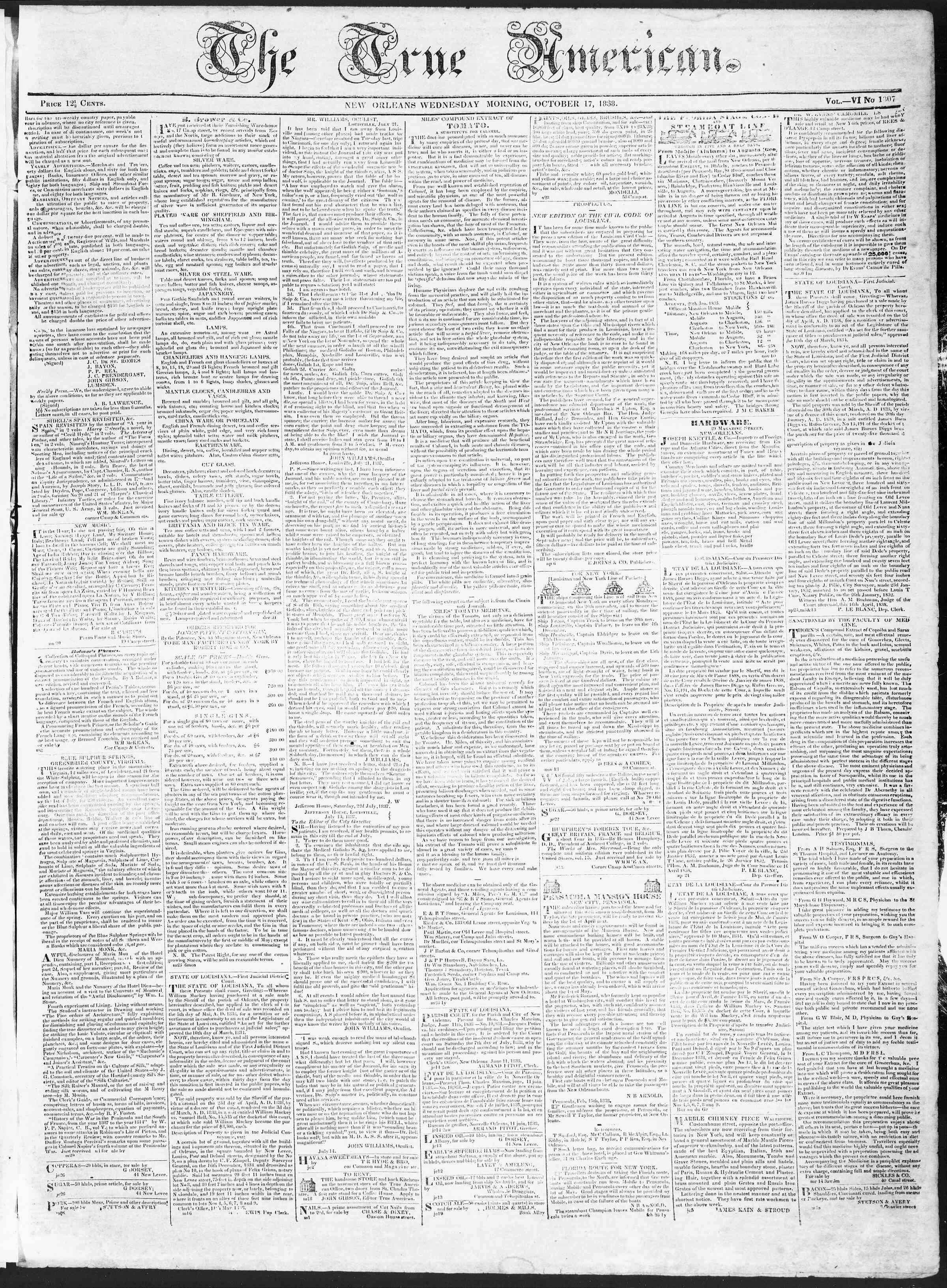 October 17, 1838 Tarihli True American Gazetesi Sayfa 1