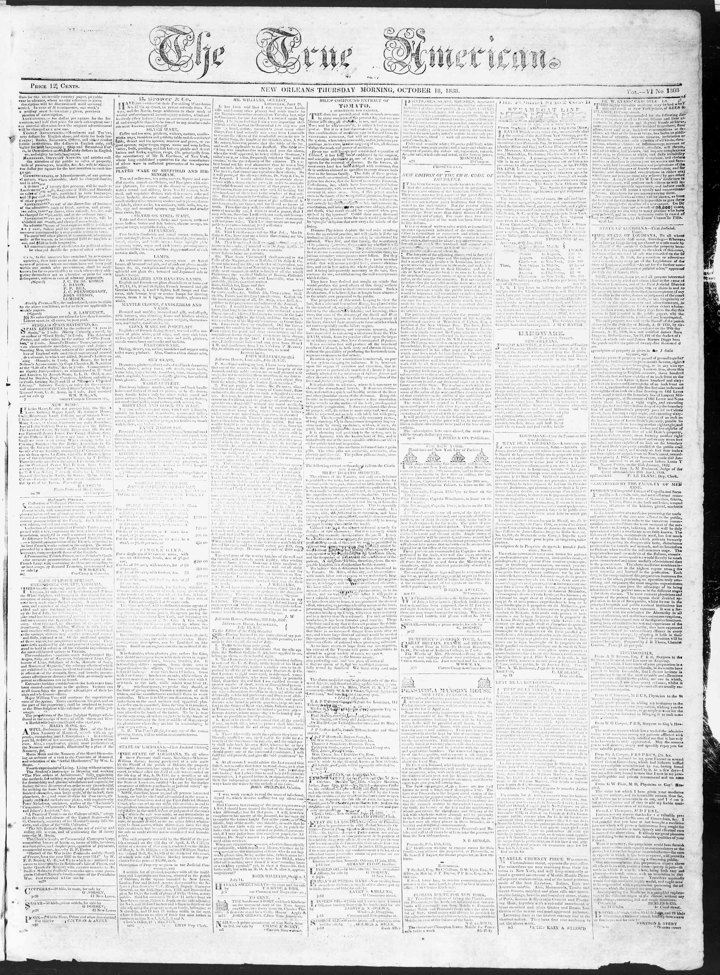 October 18, 1838 Tarihli True American Gazetesi Sayfa 1