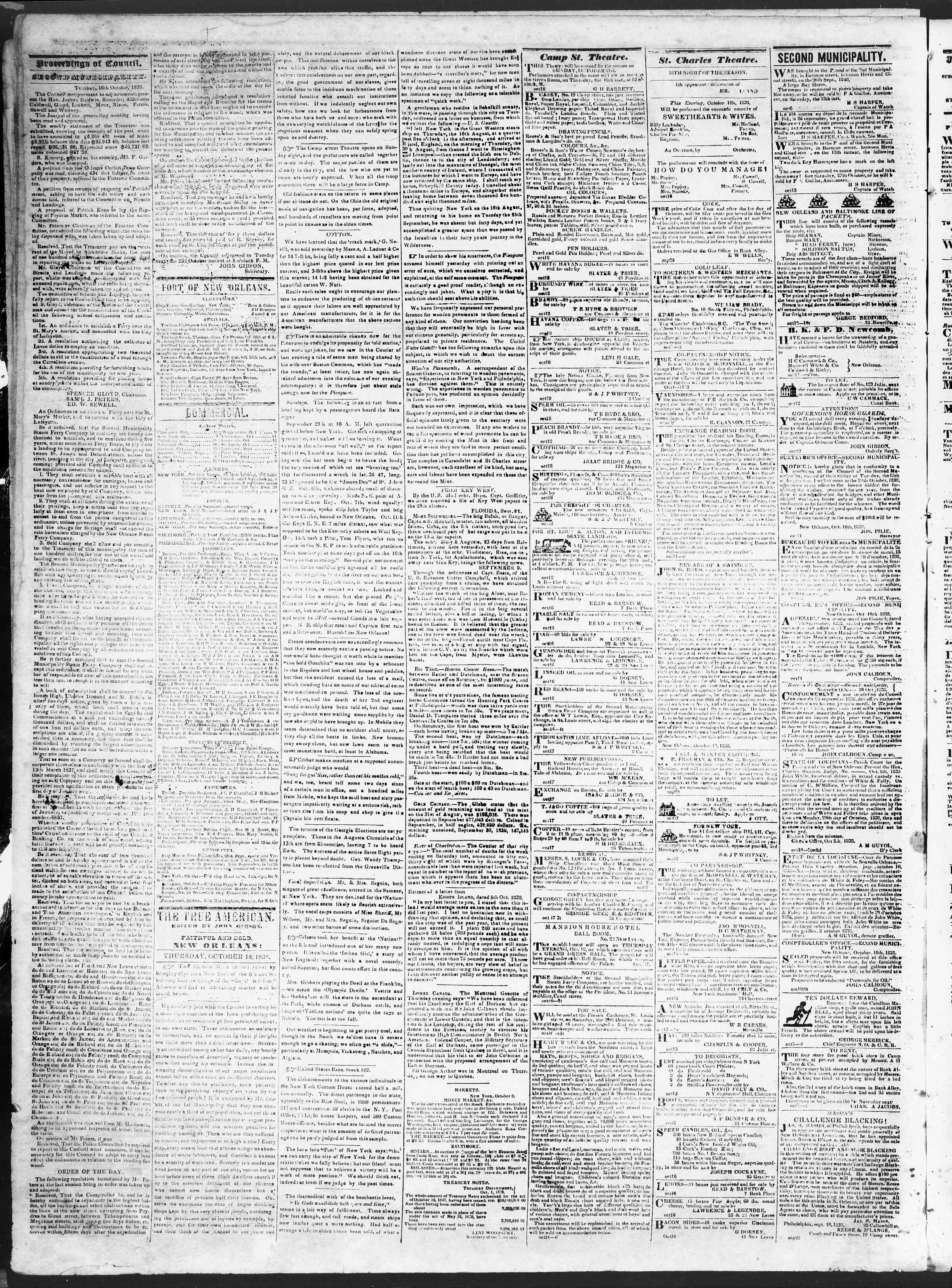 Newspaper of True American dated 18 Ekim 1838 Page 2