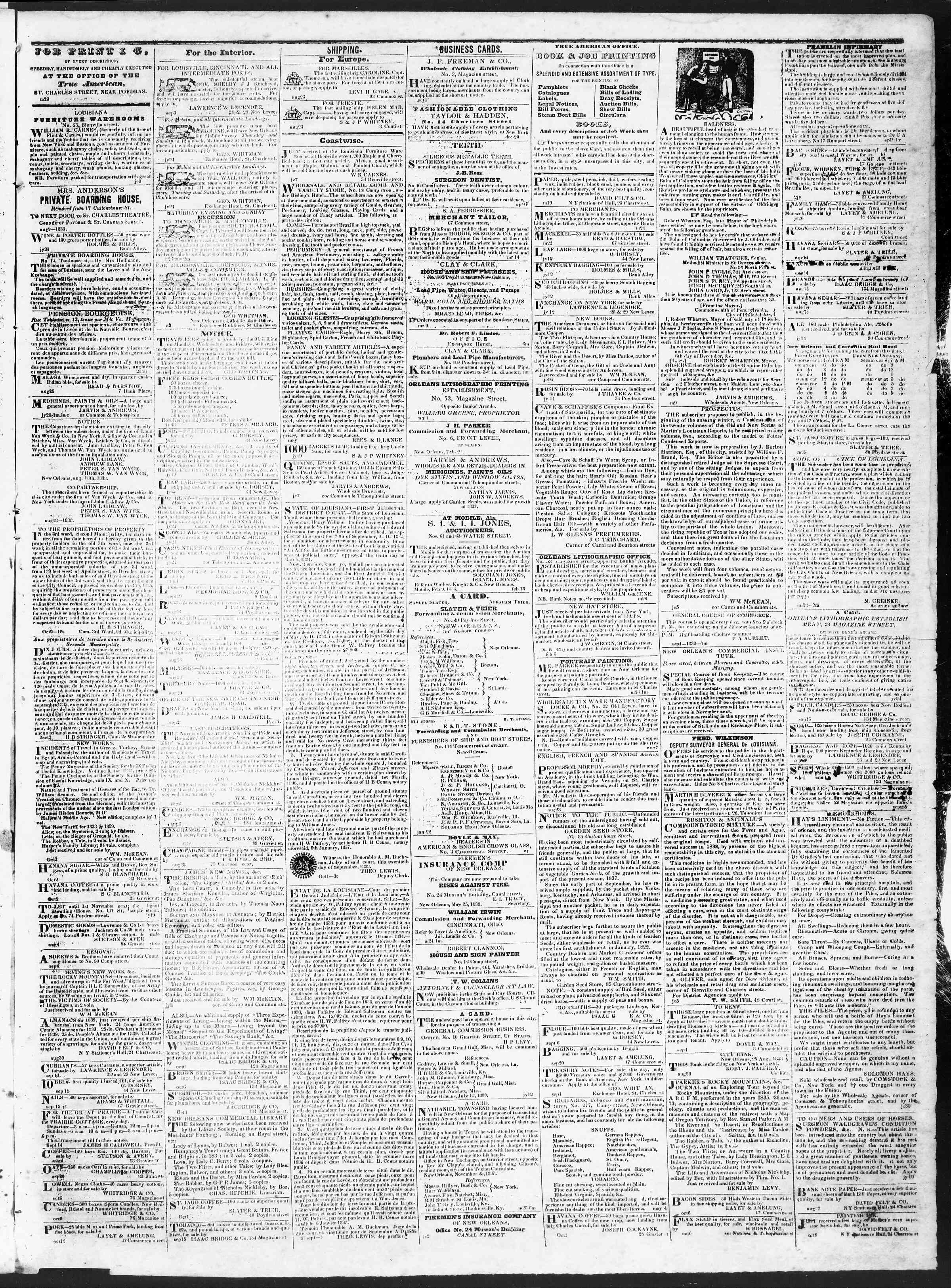 Newspaper of True American dated October 18, 1838 Page 3