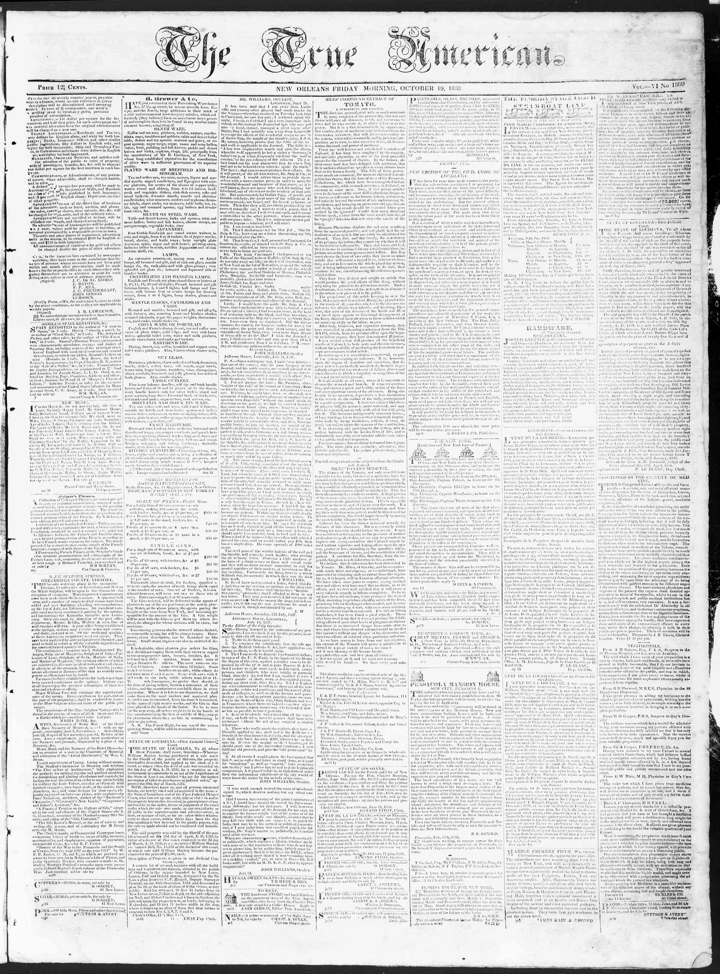 Newspaper of True American dated October 19, 1838 Page 1
