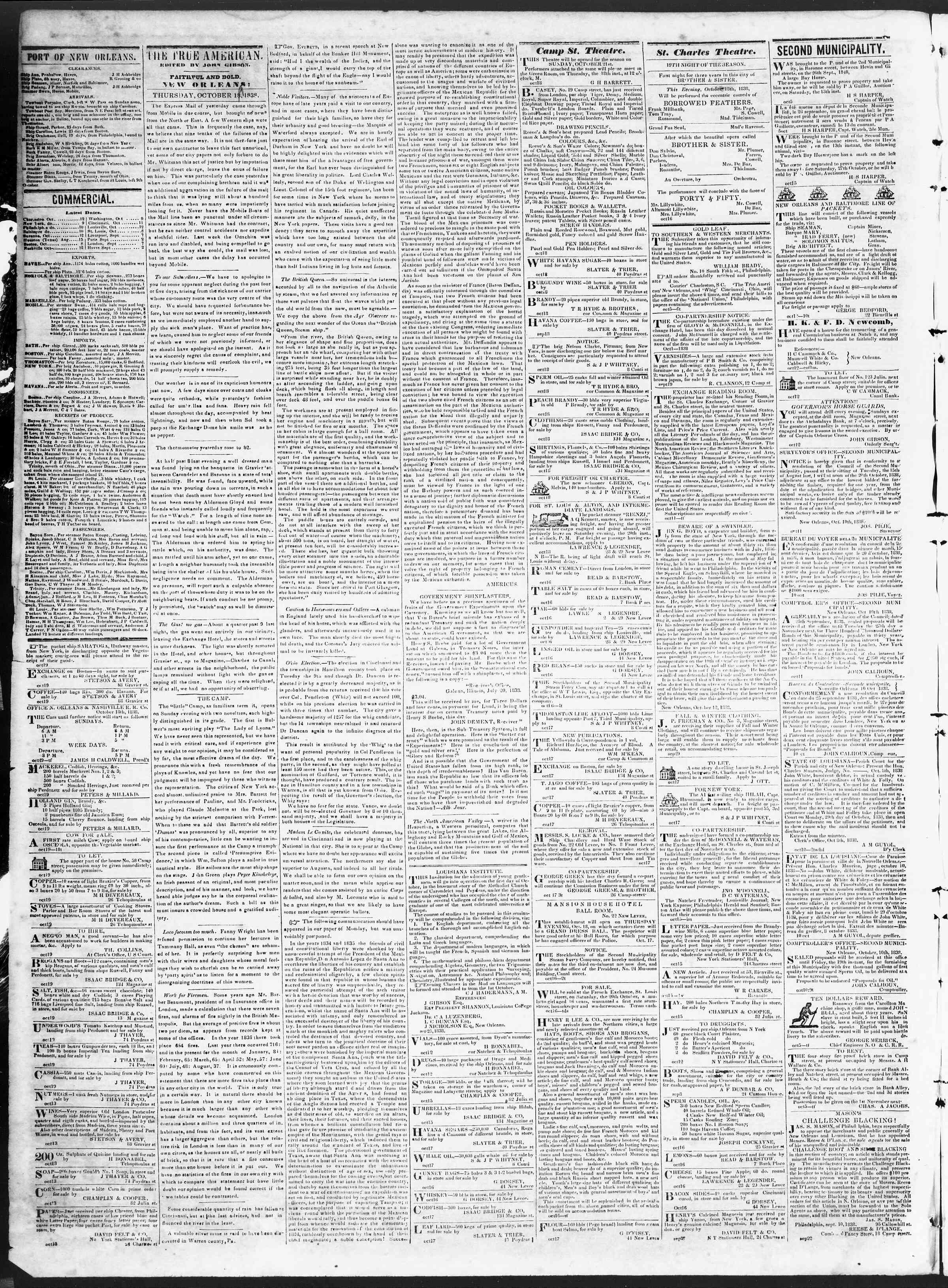 October 19, 1838 Tarihli True American Gazetesi Sayfa 2