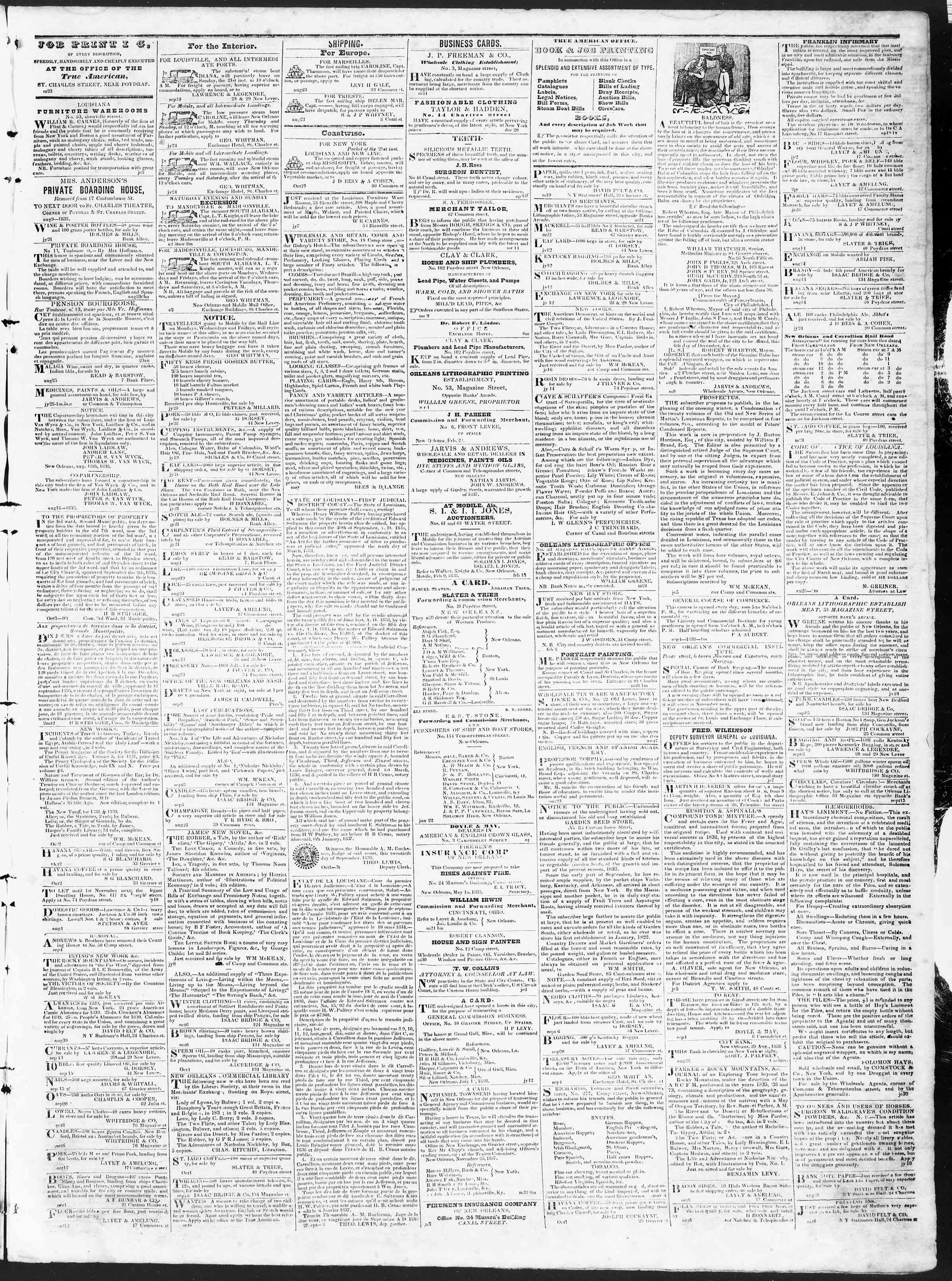 Newspaper of True American dated October 19, 1838 Page 3