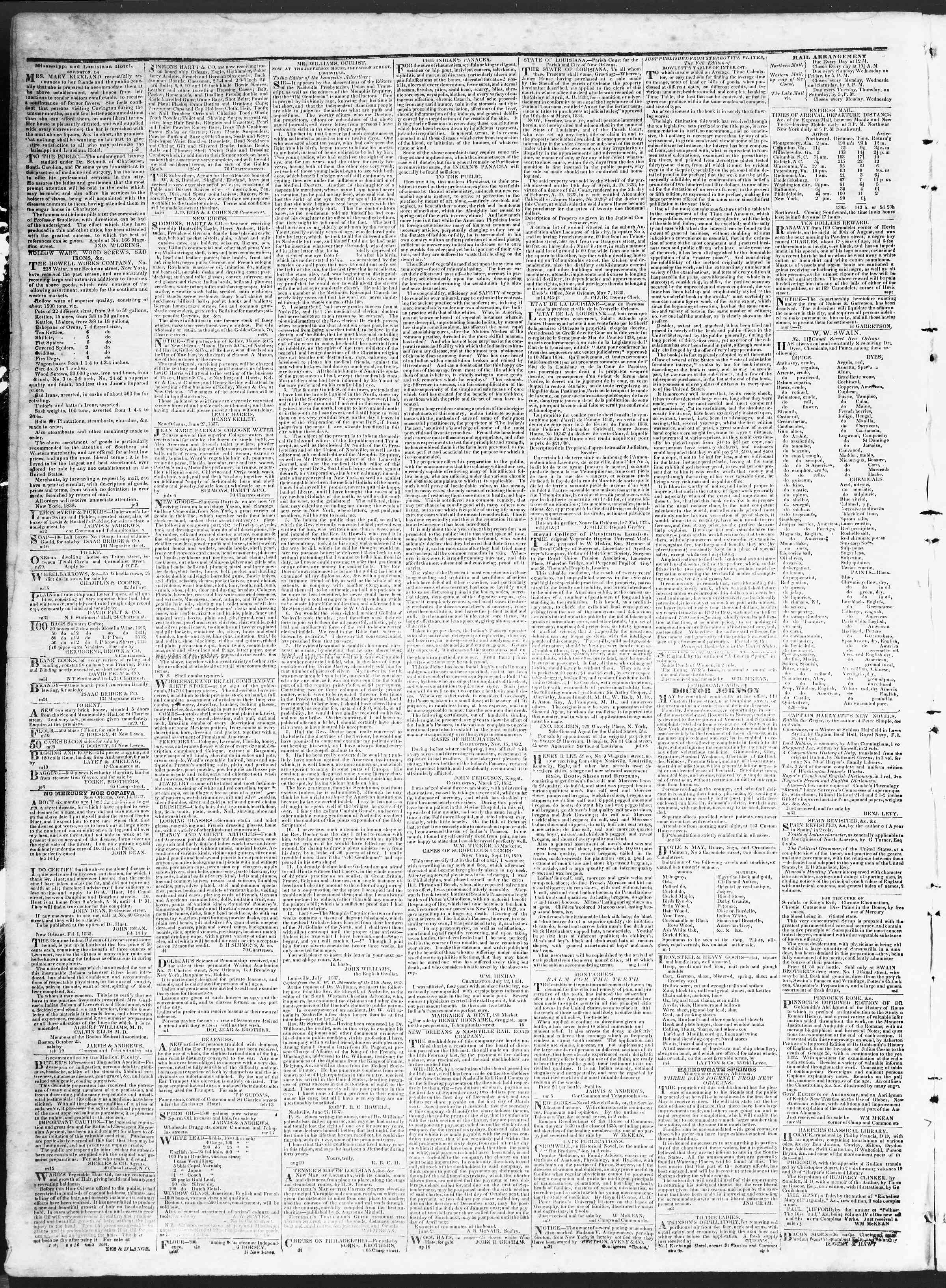 October 19, 1838 Tarihli True American Gazetesi Sayfa 4