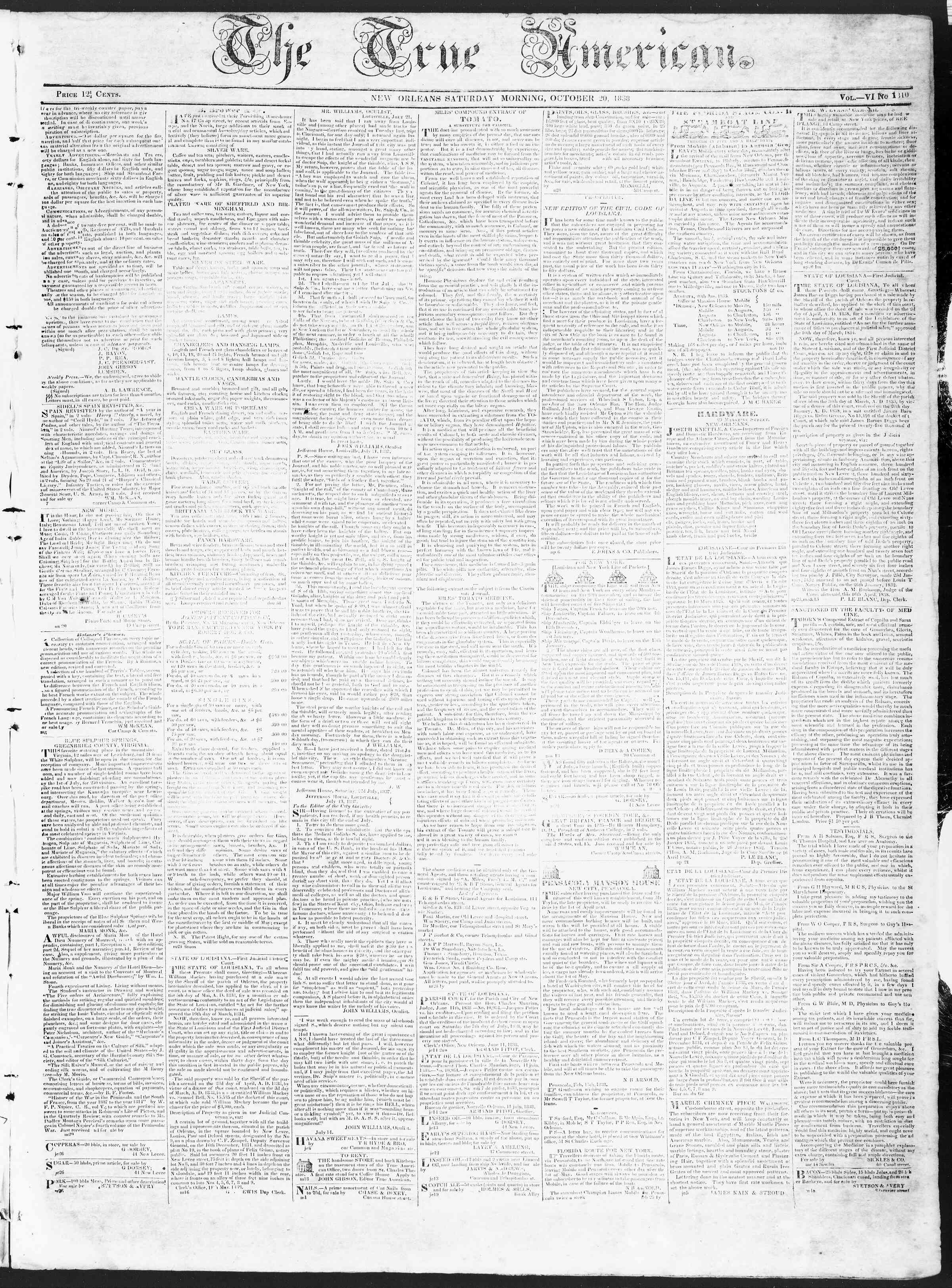 Newspaper of True American dated October 20, 1838 Page 1