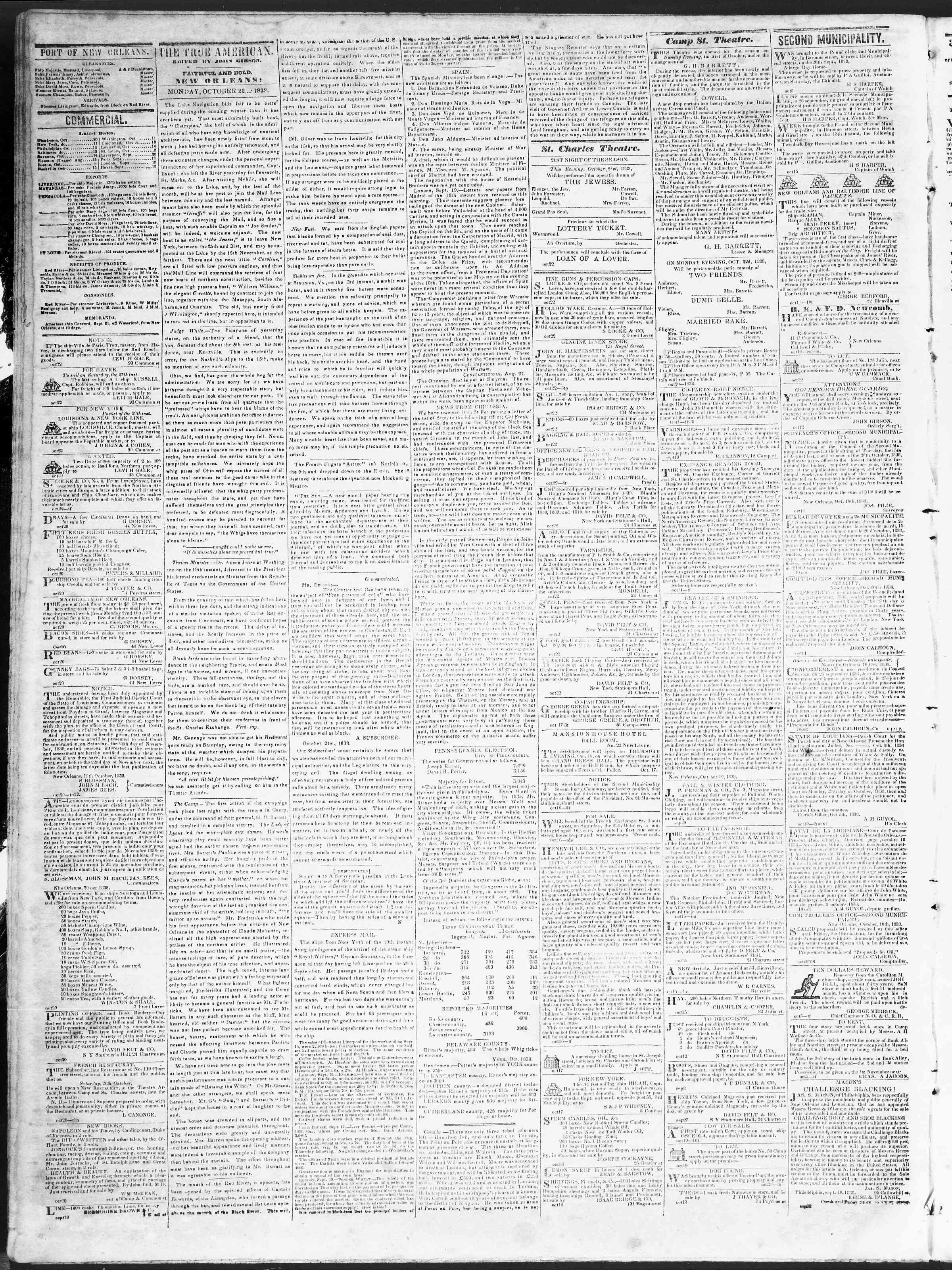 Newspaper of True American dated October 22, 1838 Page 2