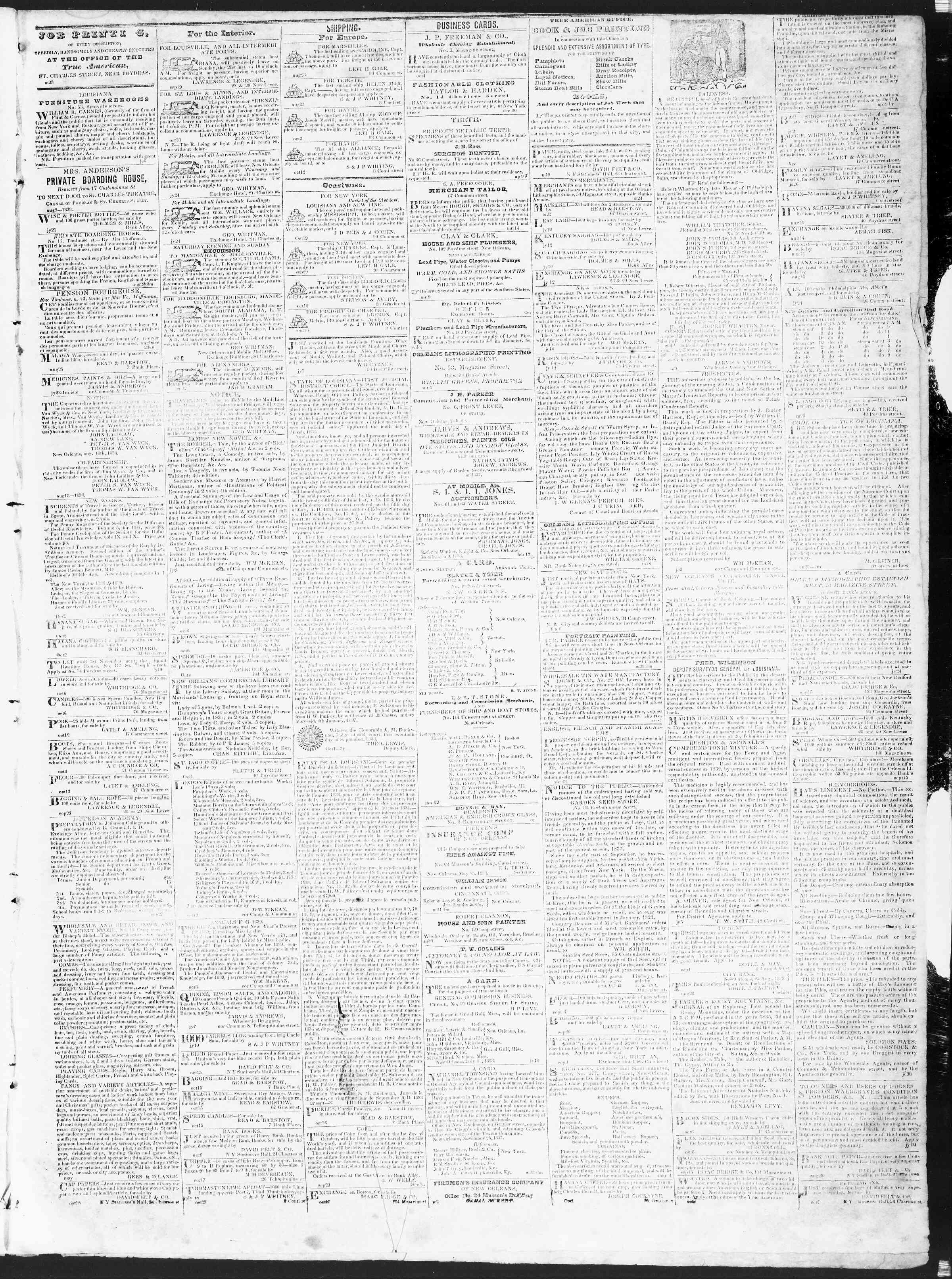 October 22, 1838 Tarihli True American Gazetesi Sayfa 3