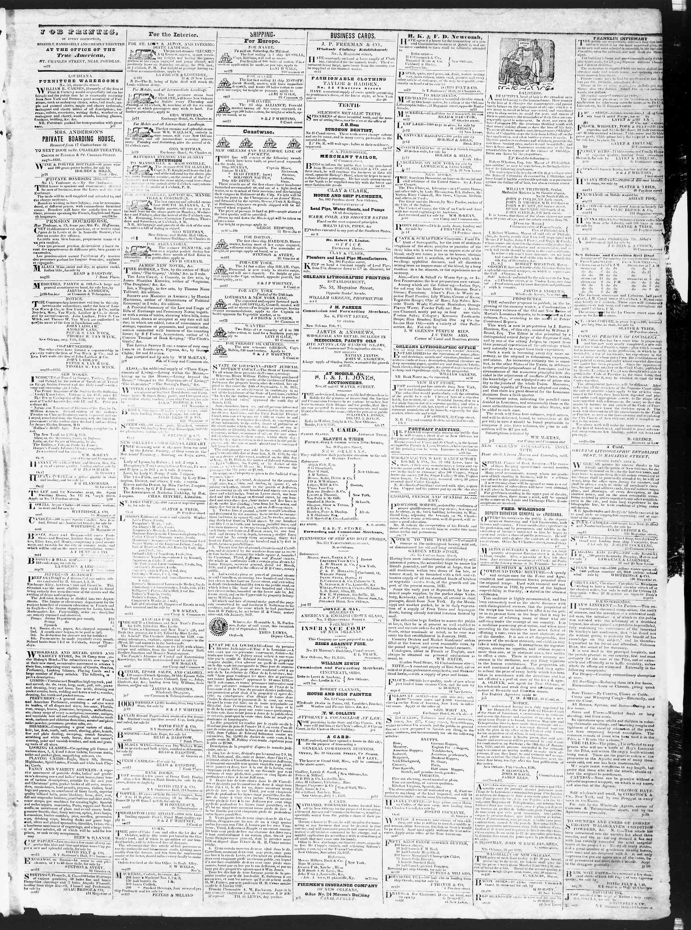 23 Ekim 1838 Tarihli True American Gazetesi Sayfa 3