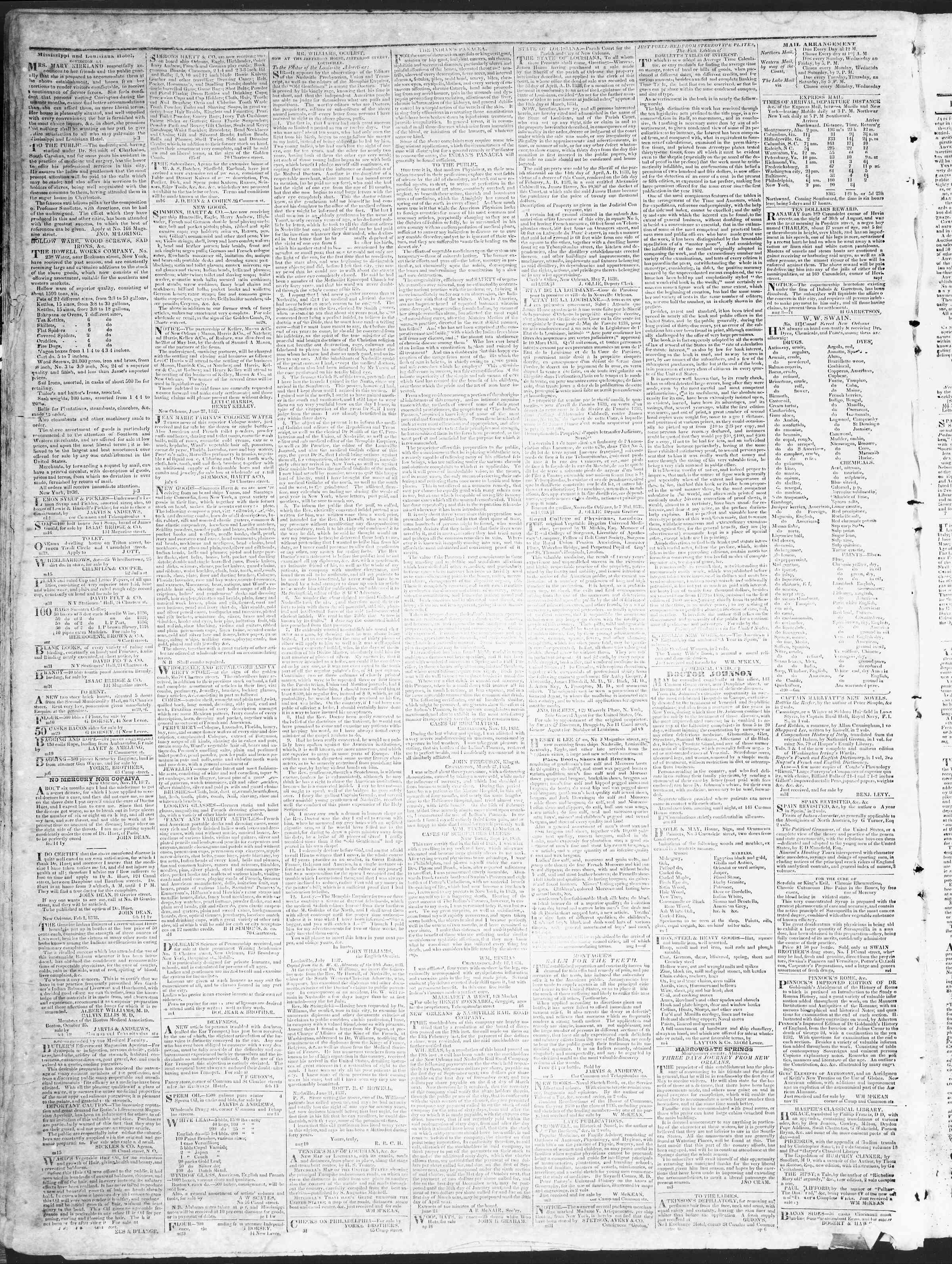 October 23, 1838 Tarihli True American Gazetesi Sayfa 4