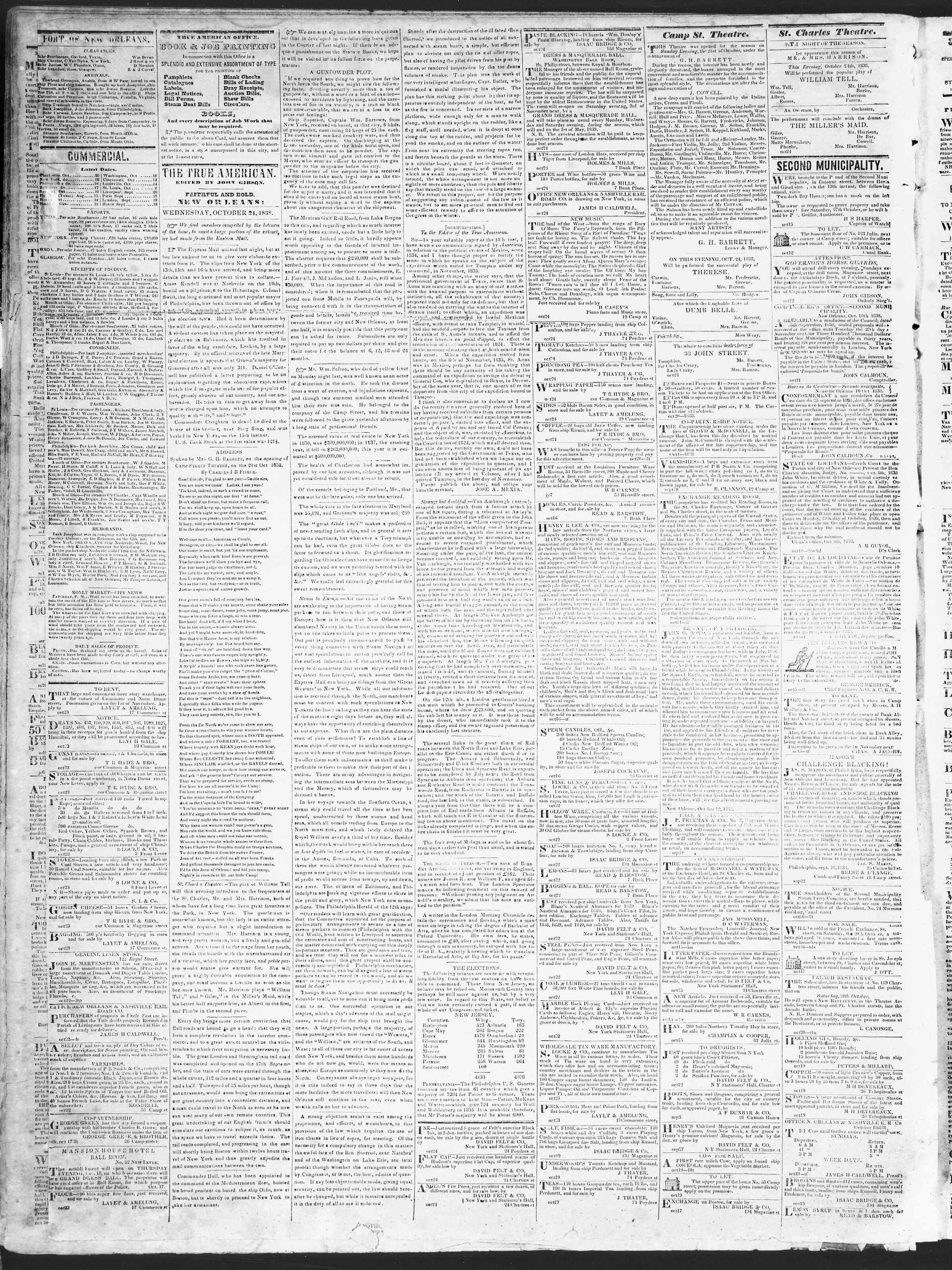24 Ekim 1838 tarihli True American Gazetesi Sayfa 2