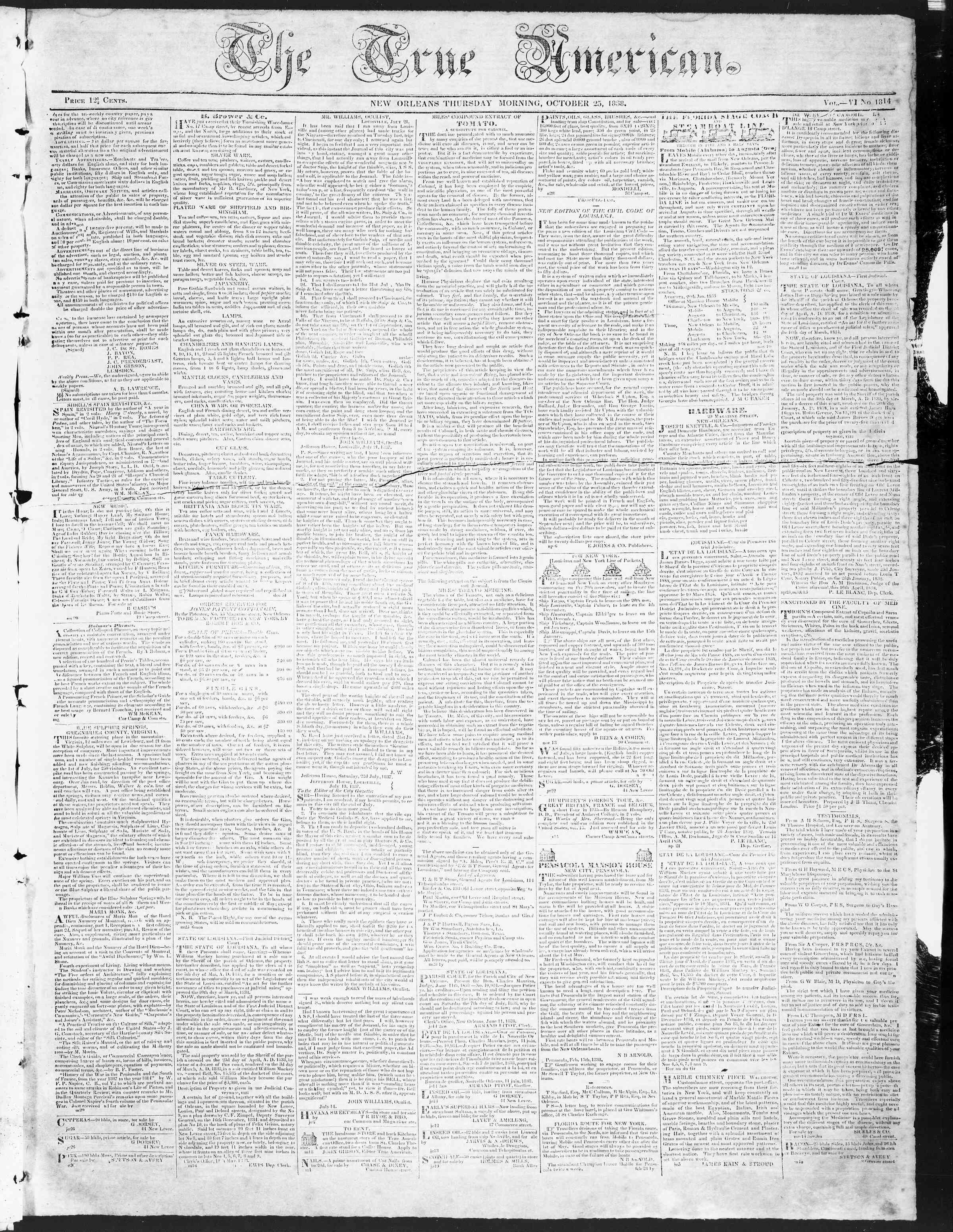 October 25, 1838 Tarihli True American Gazetesi Sayfa 1