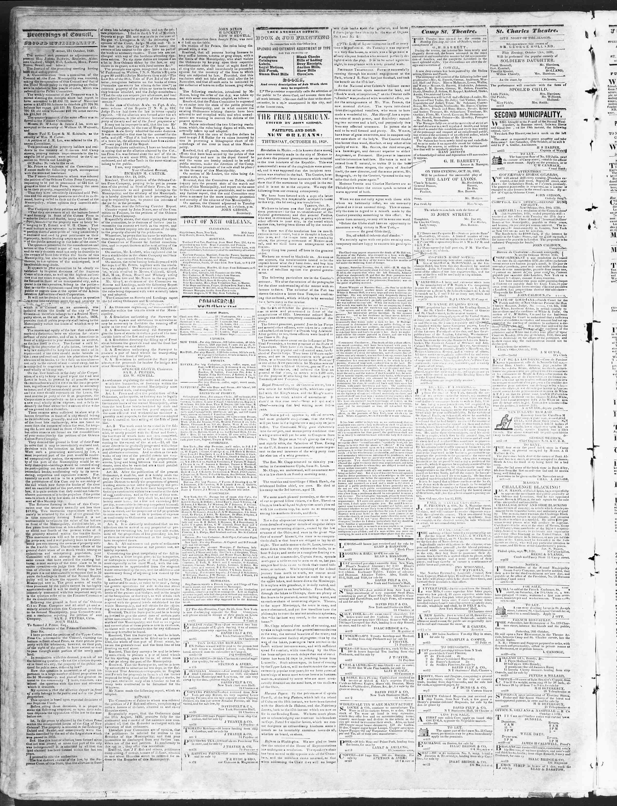 October 25, 1838 Tarihli True American Gazetesi Sayfa 2