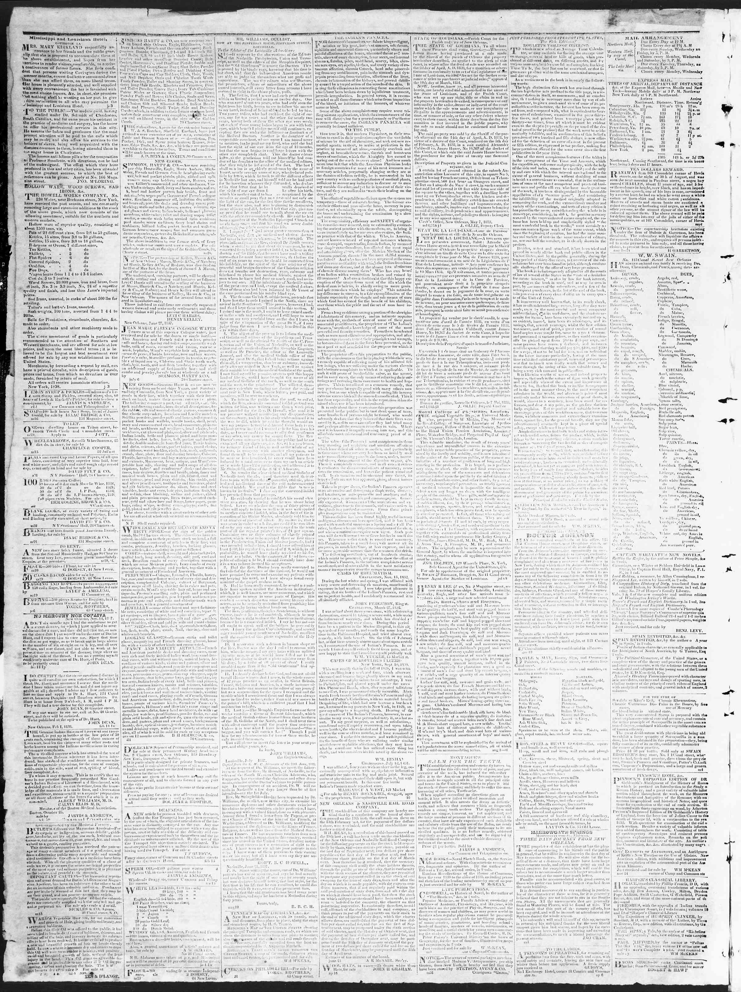 October 25, 1838 Tarihli True American Gazetesi Sayfa 4